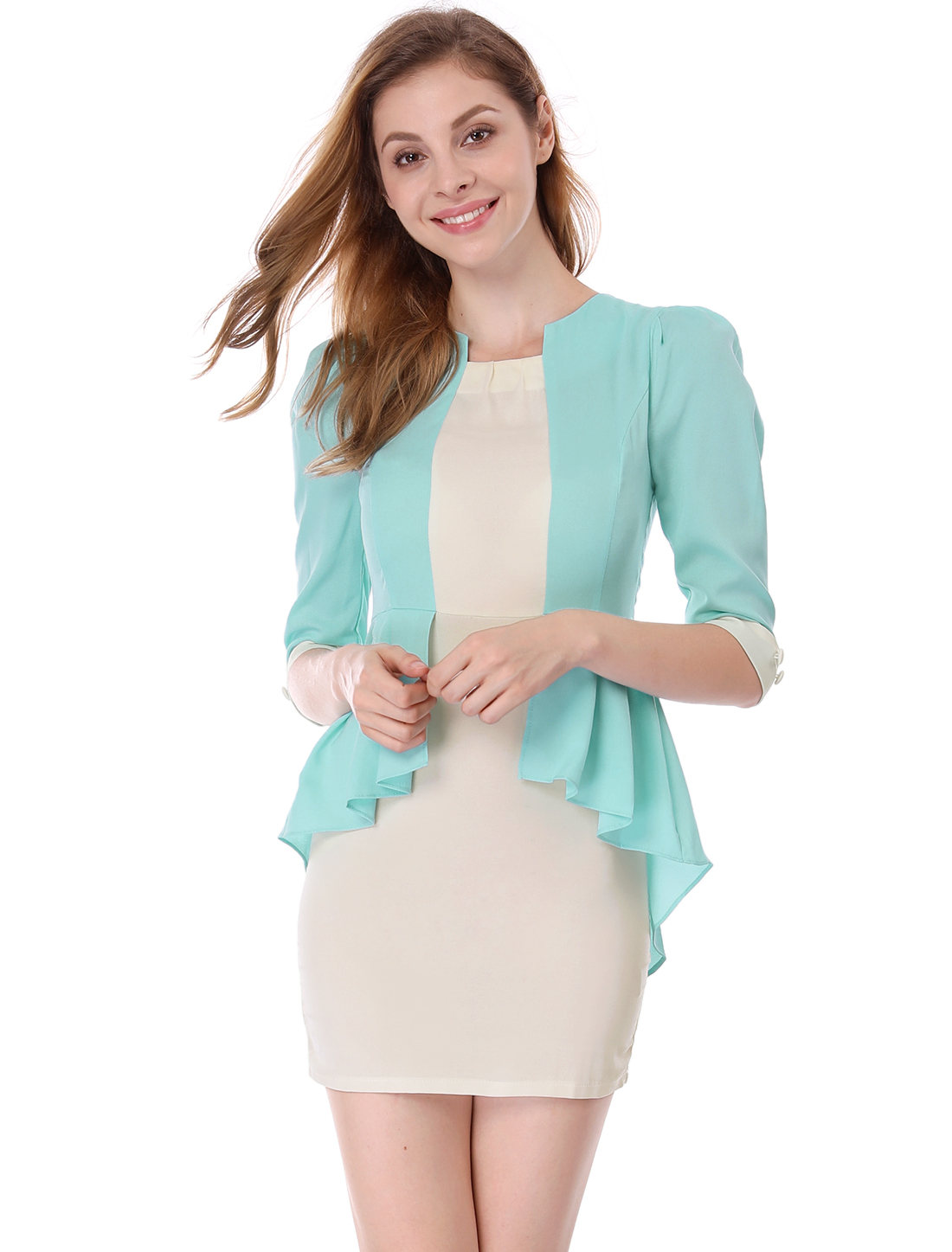 Ladies Round Neck 3/4 Sleeve Concealed Zipper Back Dress Mint XS