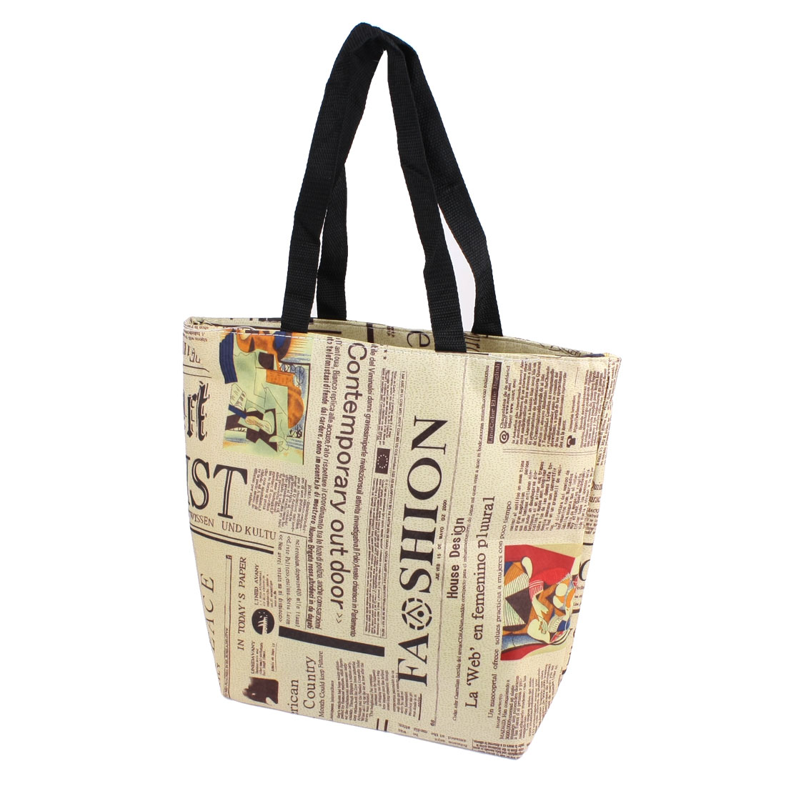 Folding Zippered Black Khaki News Paper Pattern Recycling Shopping Tote Bag