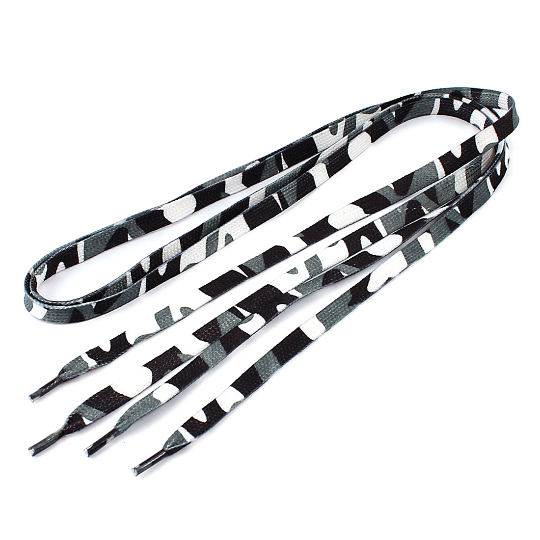 Pair White Green Plastic Tip Camouflage Pattern Flat Shoelaces 114cm Long
