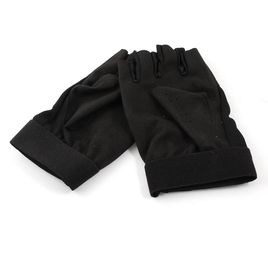 Half Finger Hook Loop Fastener Palm Protective Gloves Black Pair for Women
