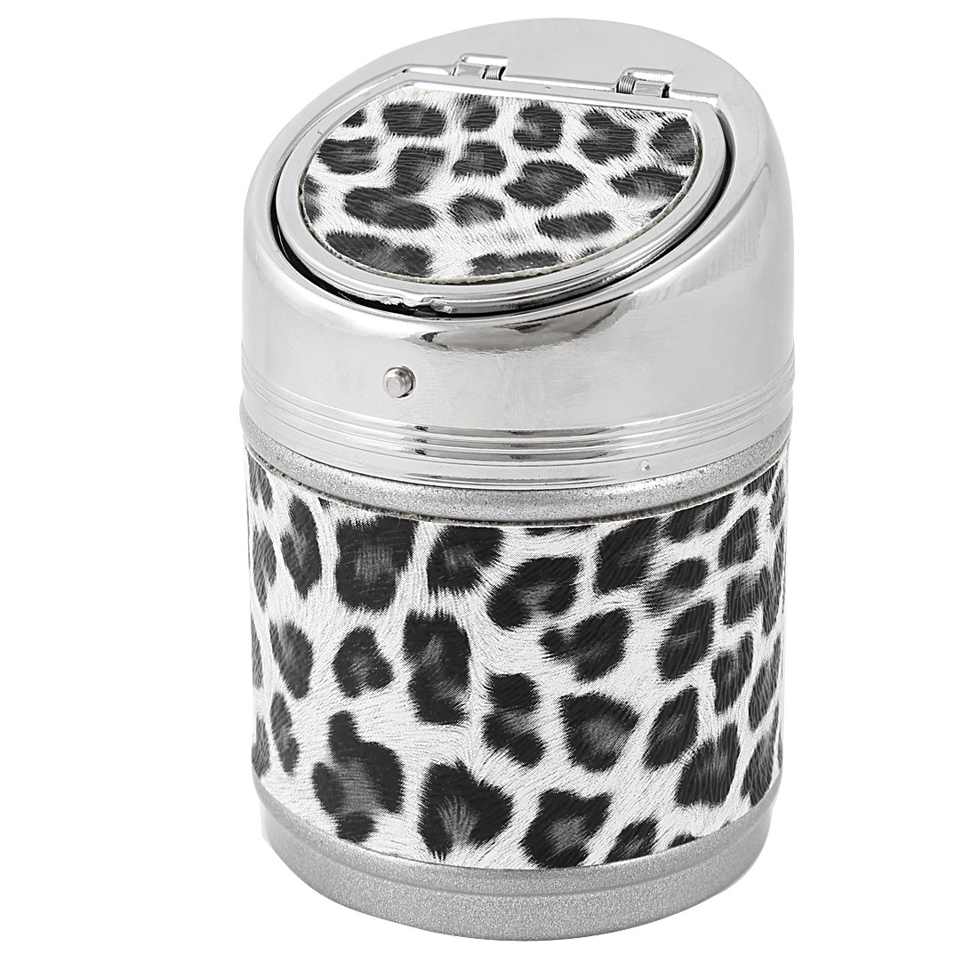 Household Leopard Pattern Cylinder Shaped Automatic Flap Lid Smoke Cigarette Tobacco Ash Holder Container Ashtray Black White