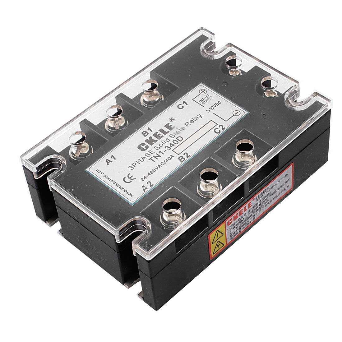 TN1-340D 6 Terminals 3 Phase Indicator Light Solid State Relay DC3-32V AC24-480V 40A