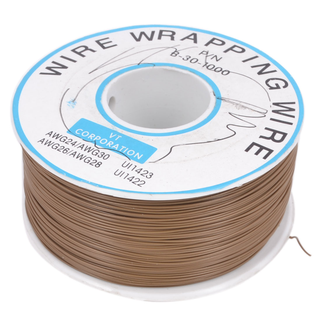 305M P/N B-30-1000 30AWG PCB Solder Brown 0.25mm Dia PVC Coated Tin Plated Copper Wire Wire-Wrapping Flexible Cable Roll