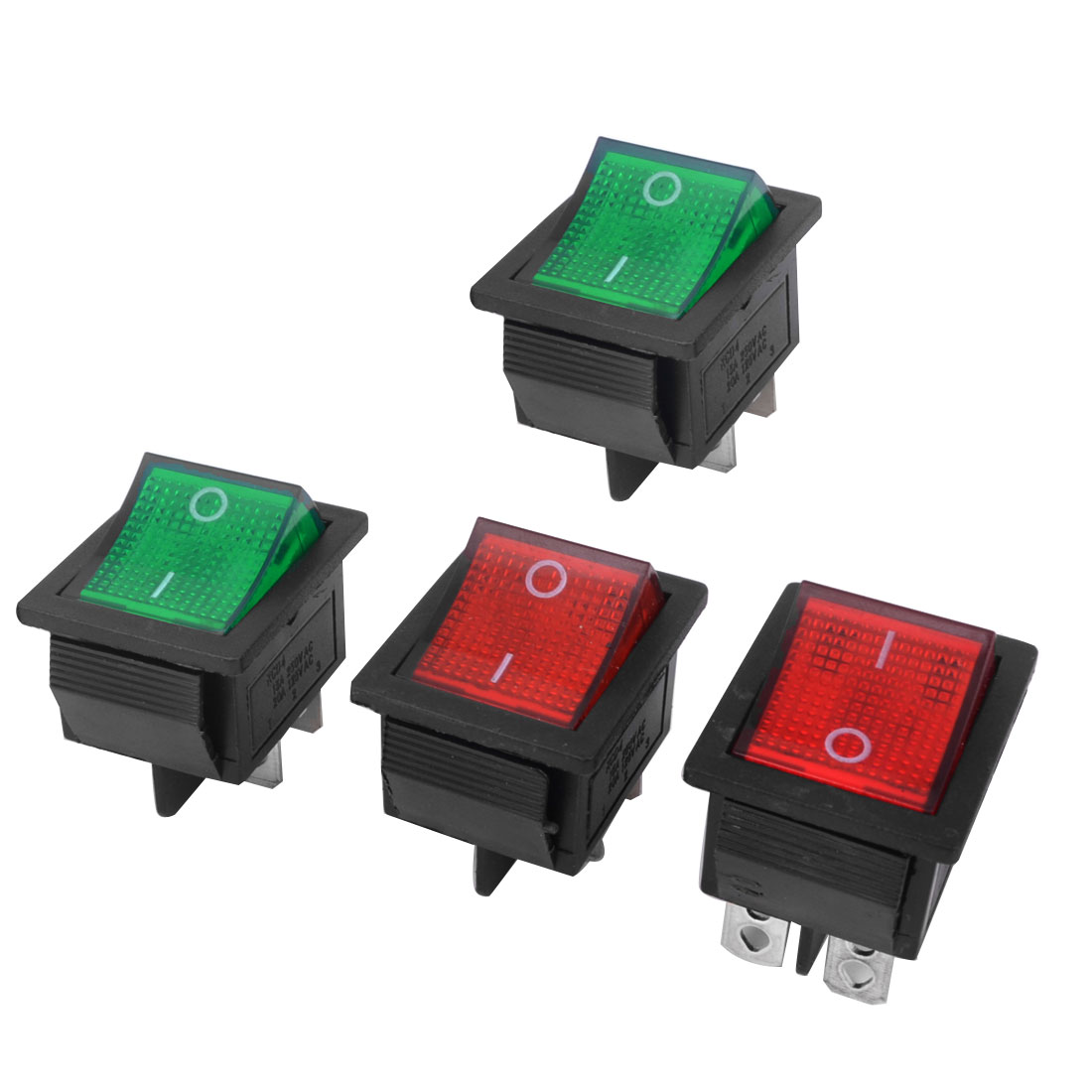 4pcs AC 250V 15A 125V 20A 4 Pins DPST 2 Position Red Green Light Snap in Boat Rocker Switch