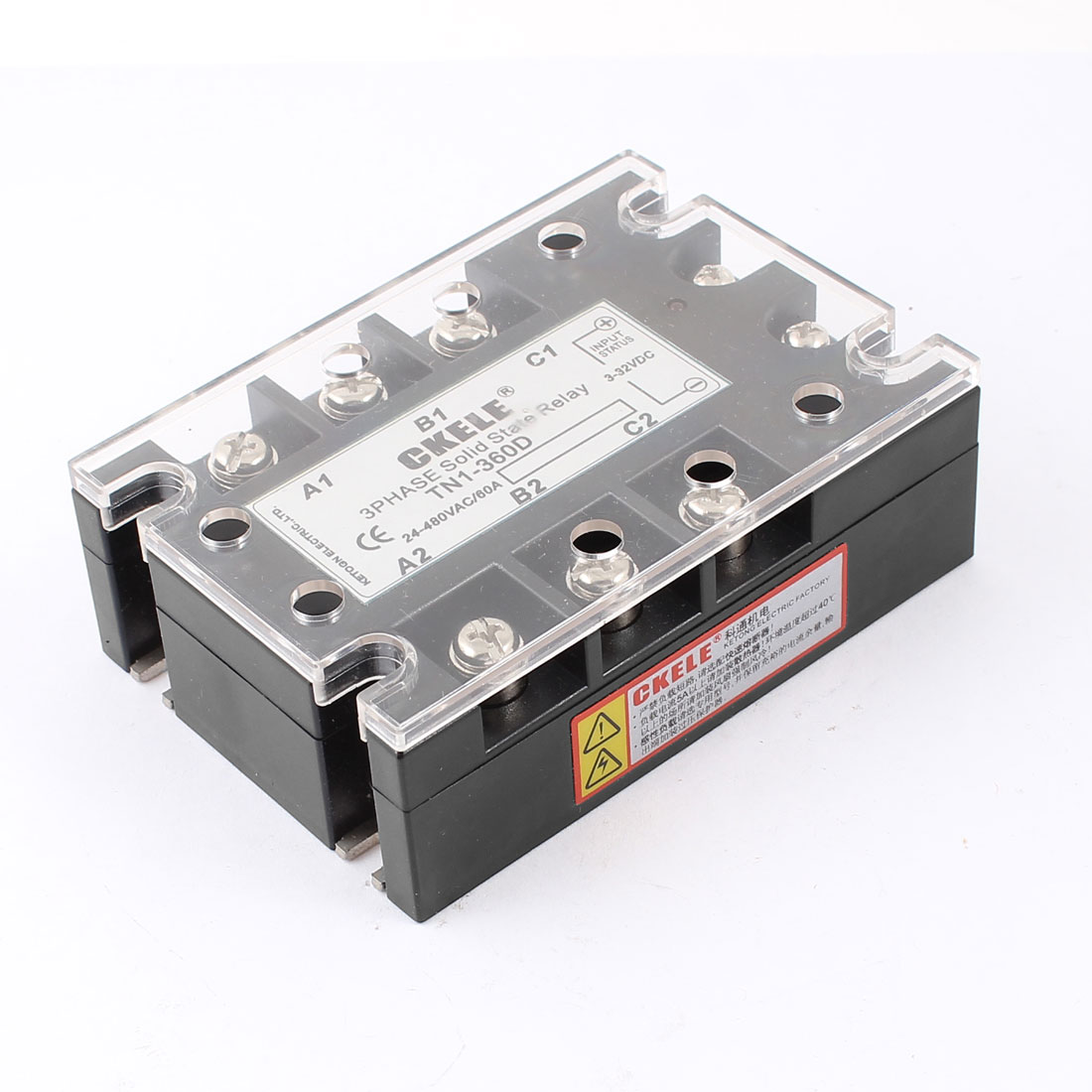 TN1-360D 6 Terminals 3 Phase Indicator Light Solid State Relay DC3-32V AC24-480V 60A