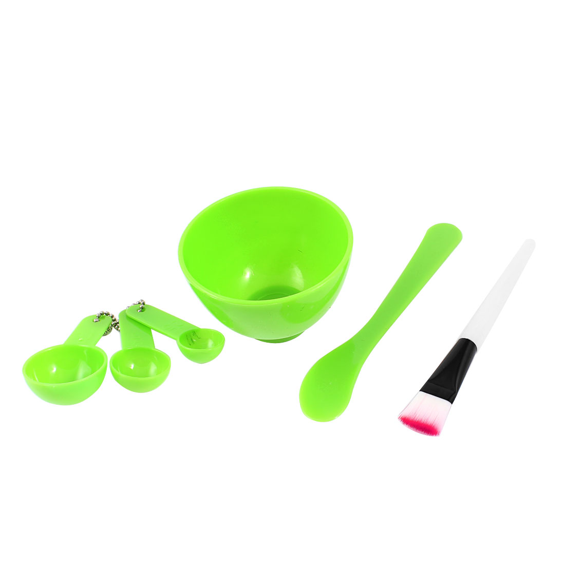 Beauty Cosmetic DIY Facial Mask Tool Set Mixing Bowl Brush Stick Measuring Spoon Green 4 in 1
