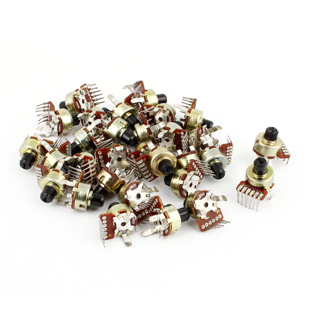 30 Pcs 50K ohm 6 Pins Split Shaft Rotary Linear Dual Taper Potentiometers