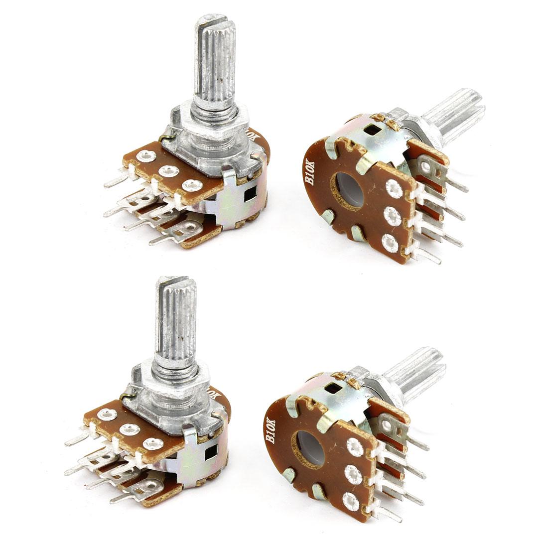4 Pcs B10K 10K ohm 6 Pins Split Shaft Rotary Linear Dual Taper Carbon Film Potentiometer