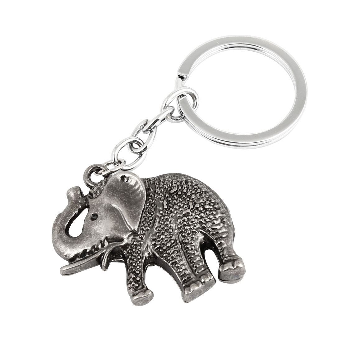 Metal Elephant Shaped Pendant Keychain Keyring Key Holder 9cm Length Gray