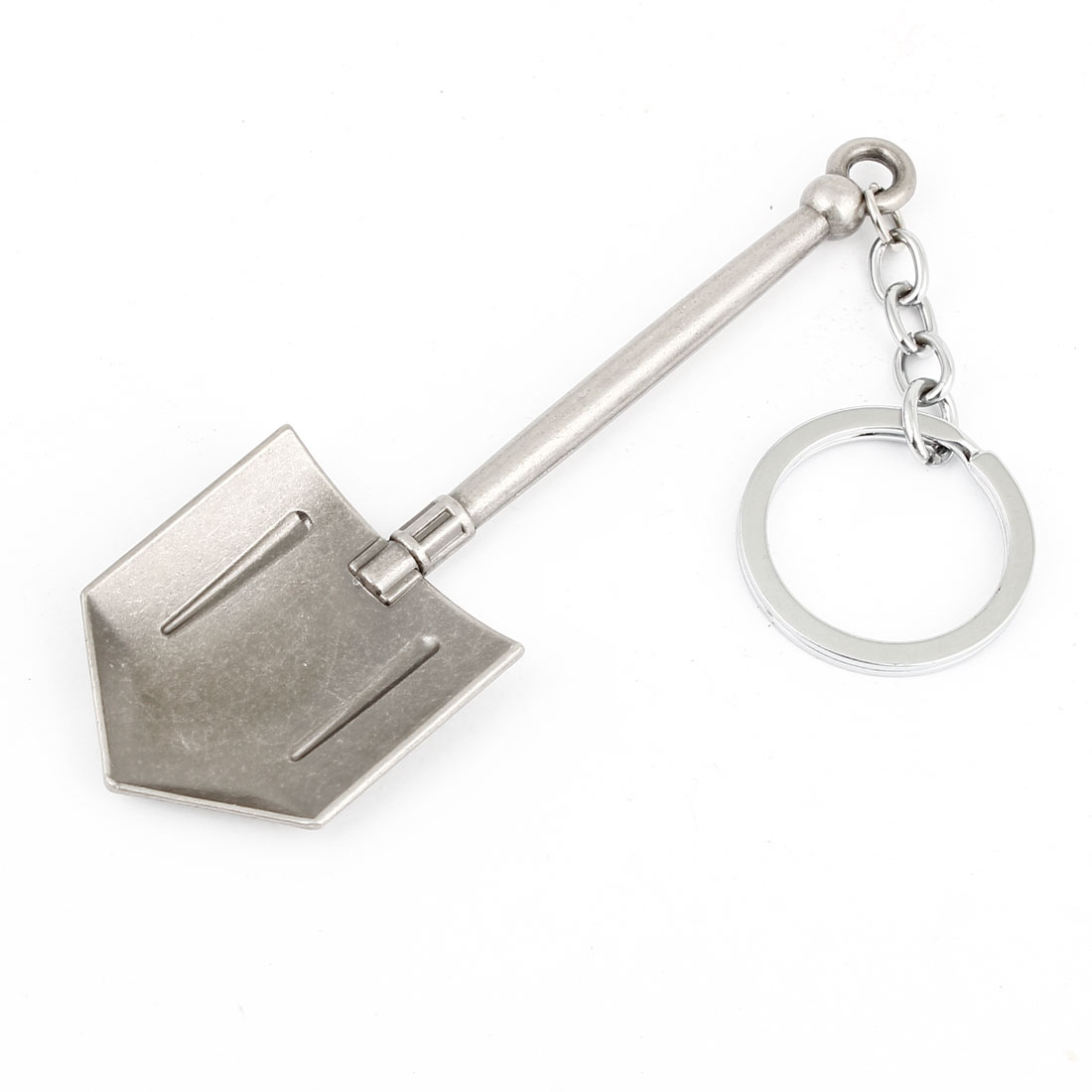 Gray Metal Shovel Design Pendant Keyring Key Chain Bag Decoration 6.3 Inch Long