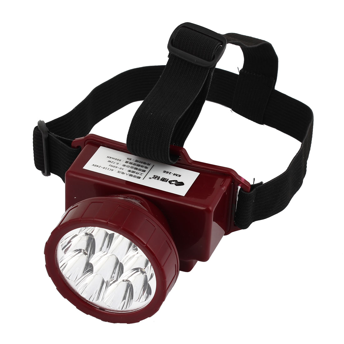 AC110-220V US Plug Red Plastic Shell Rotatable 9 LEDs Rechargeable Headlamp
