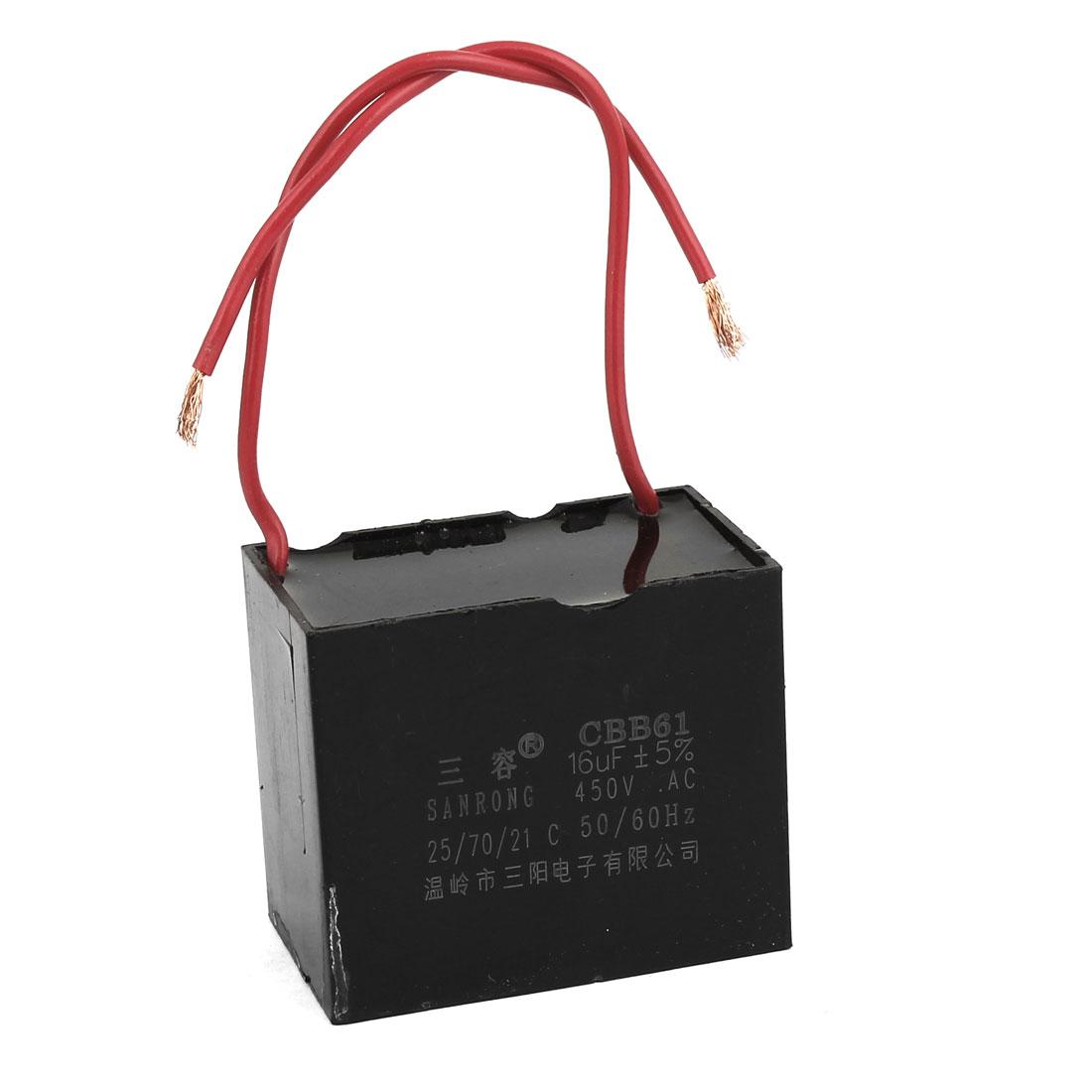 CBB61 16uF AC 450V Metallized Polypropylene Film Motor Run Capacitor Black
