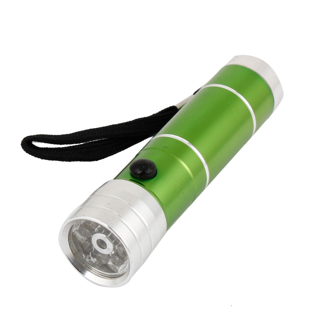 Portable Green Silver Tone Aluminum Compact Housing White 8 LED Torch Flashlight