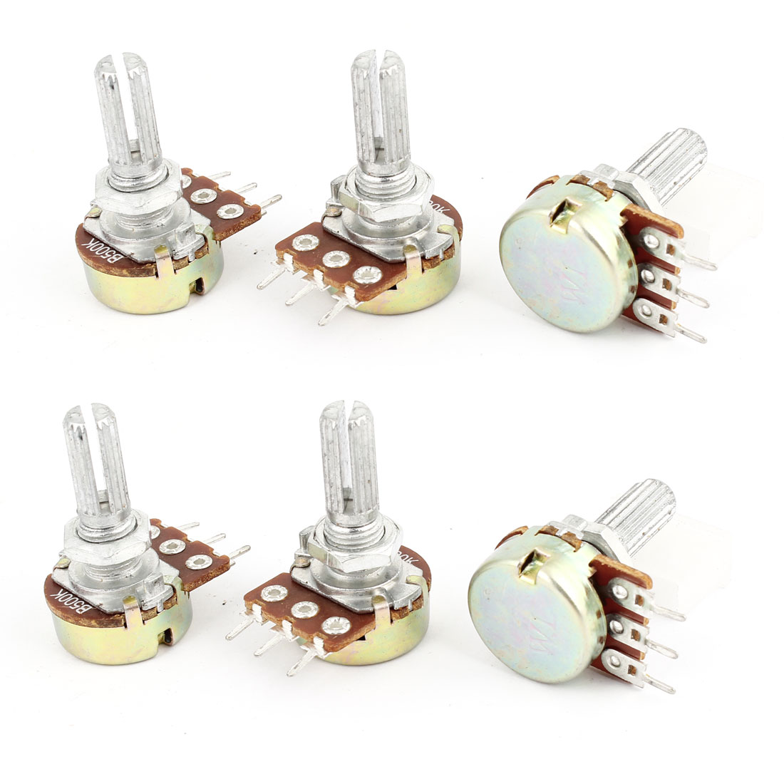 6 Pcs Top Adjustment Single Turn Shaft 3 Pins Pot Carbon Film Potentiometer B500K
