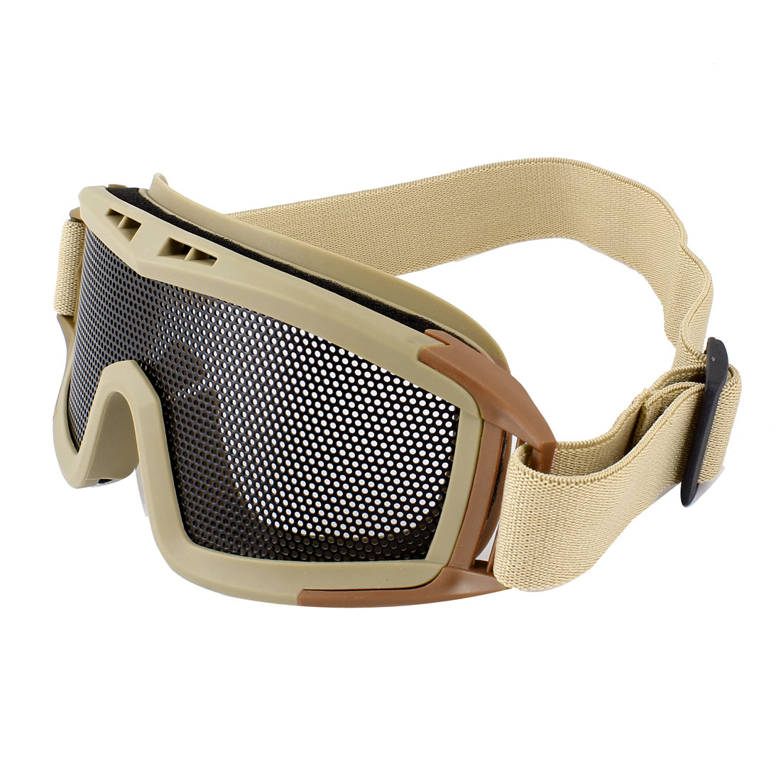 Airsoft Paintball Game Eye Protection Pinhole Metal Meshy Safety Goggles Khaki