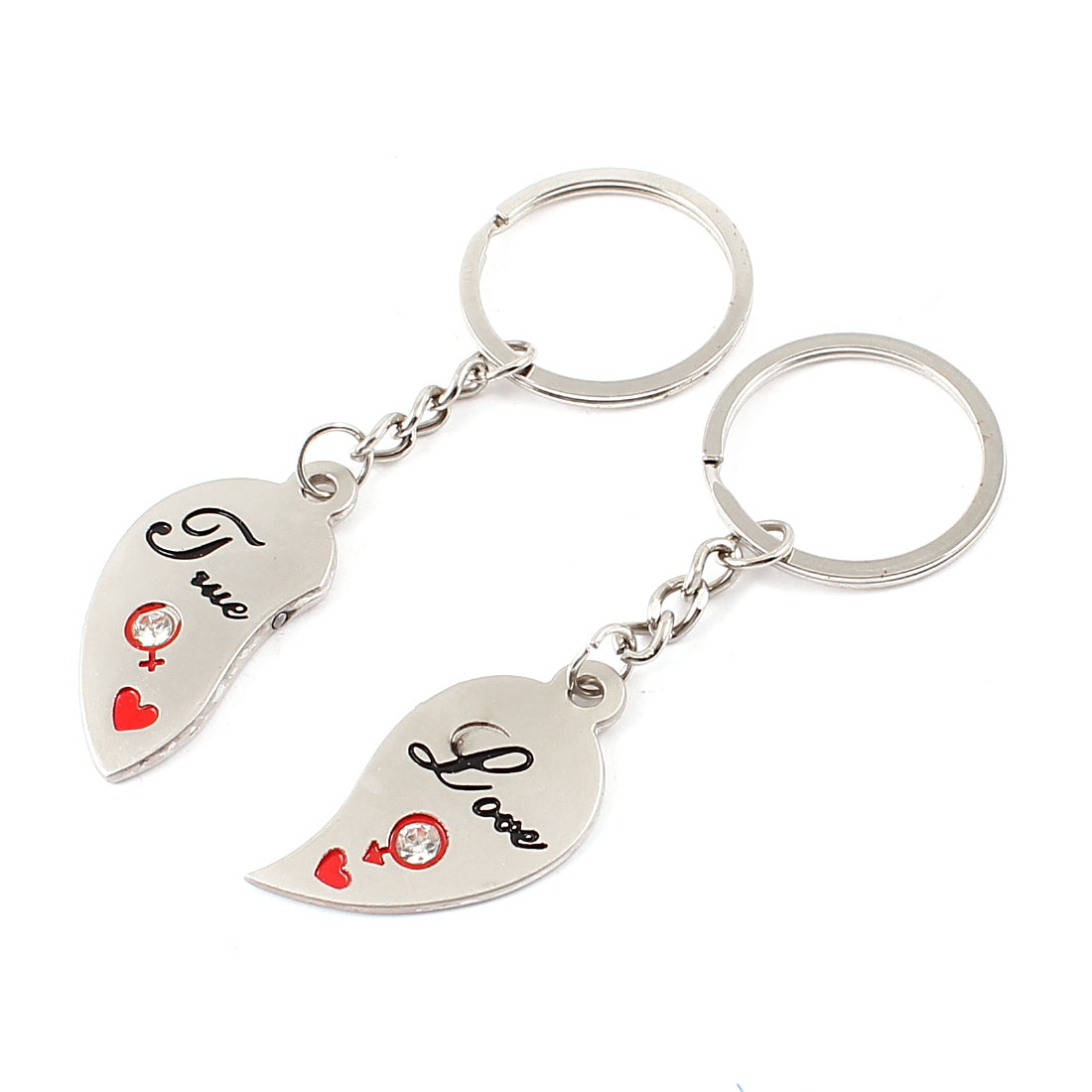 Pair Faux Crystal Detail Heart Shape Magnetic Key Ring Pendant Silver Tone for Couple Lover