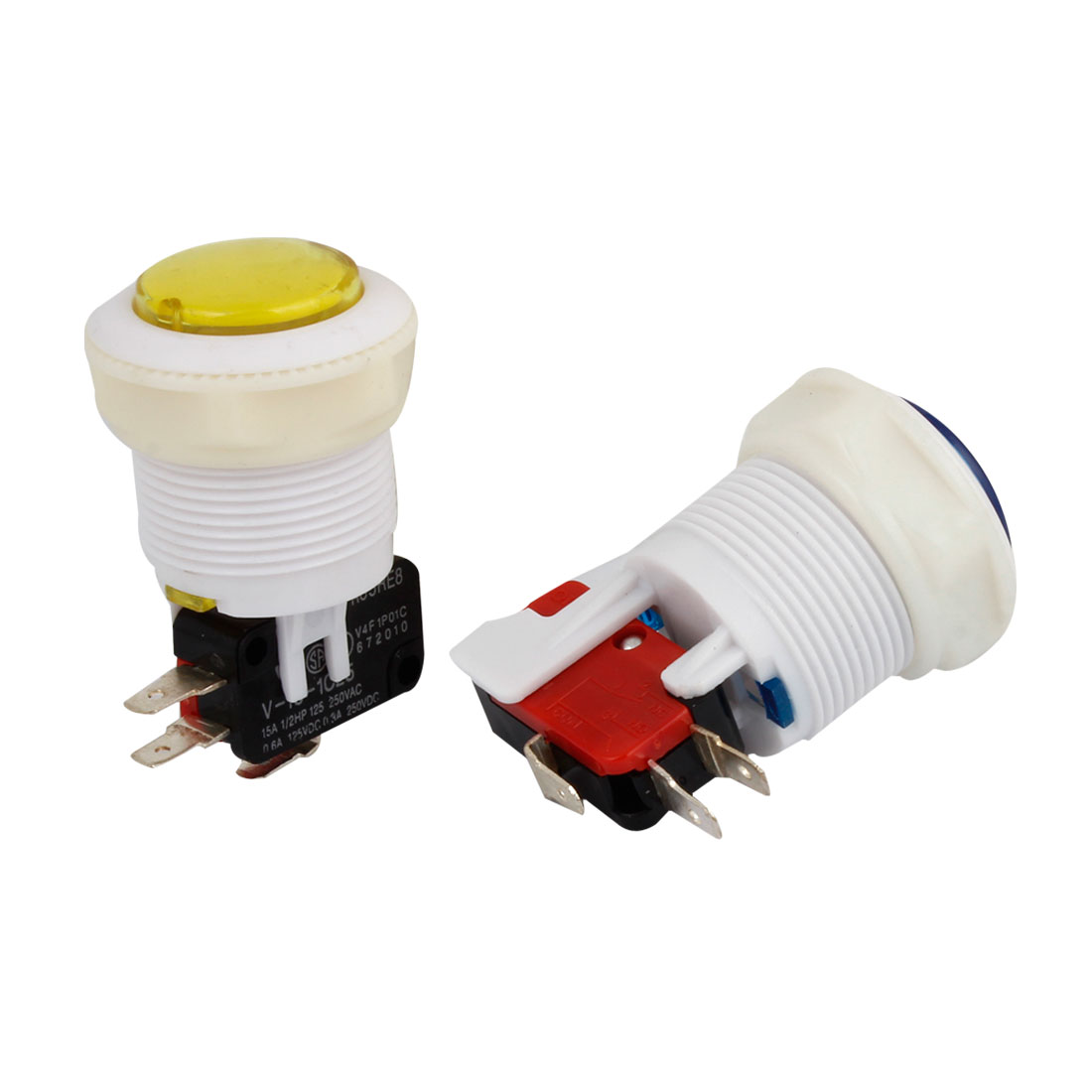 Acrade Game Blue Yellow Push Button Momentary 3-Terminals SPDT 1NO 1NC Micro Switch 2 Pcs