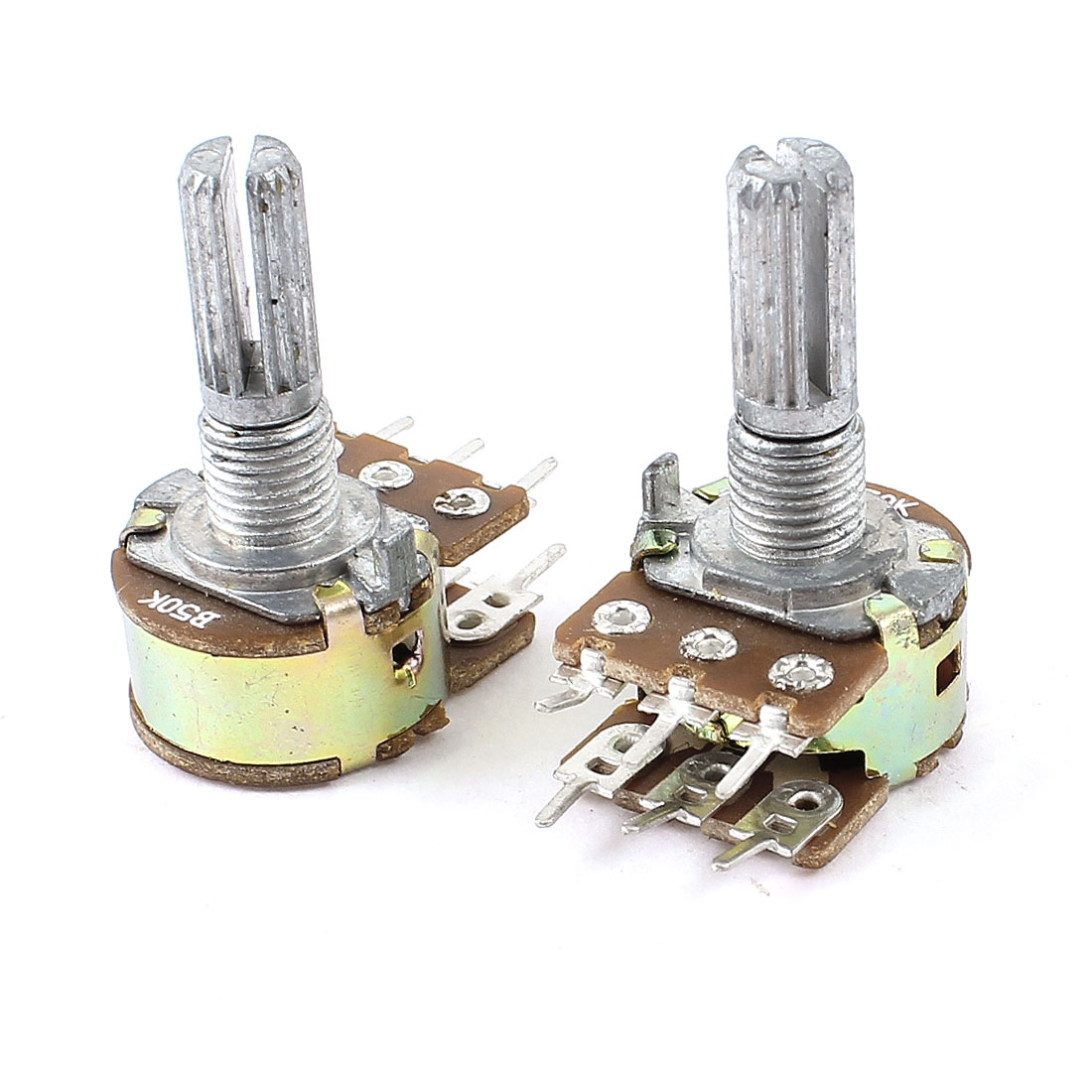B50K 50K ohm 6 Pins Split Shaft Rotary Linear Dual Taper Potentiometer 2PCS
