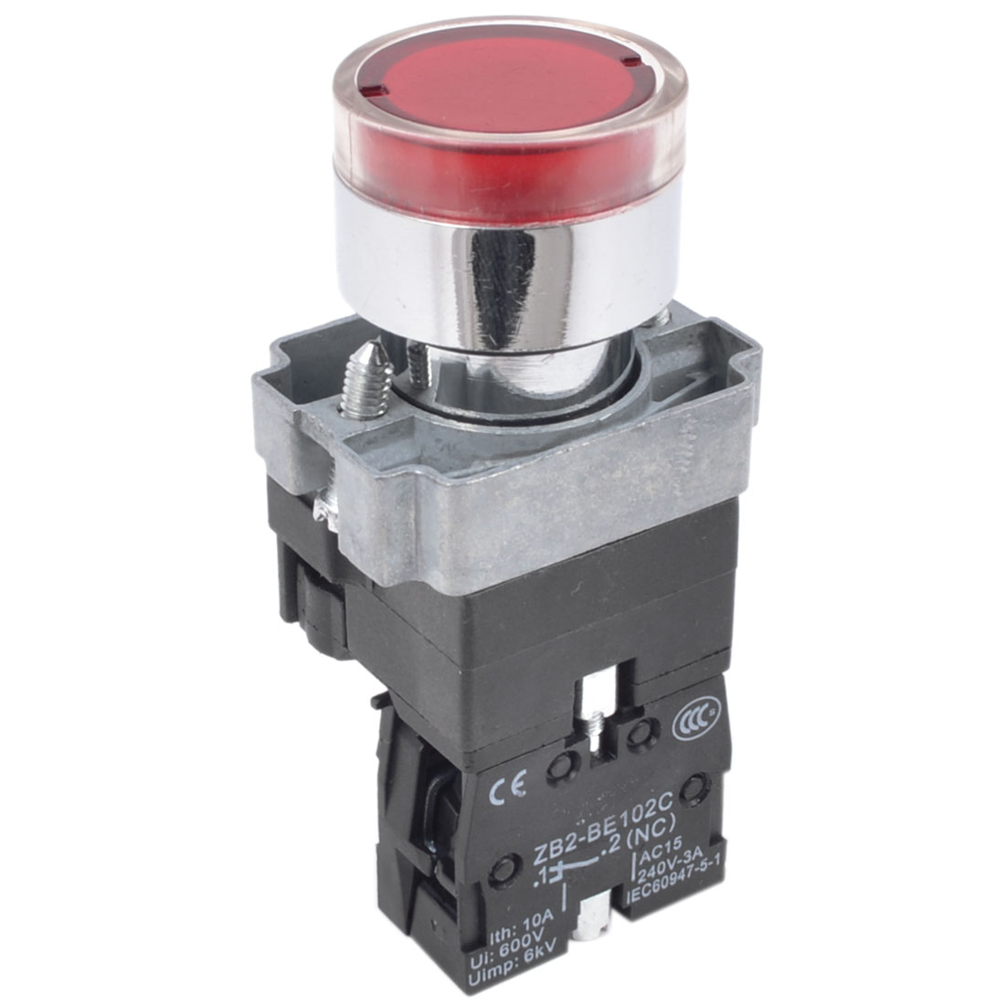 AC 220V 10A 4 Terminals 1NC SPST Momentary Red Light Push Button Switch