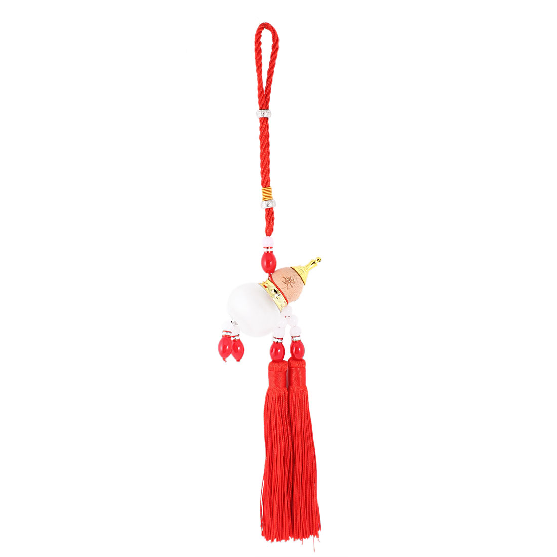 Beads Decor Plastic Calabash Shaped Red Pendant Tassel Hanging for Car