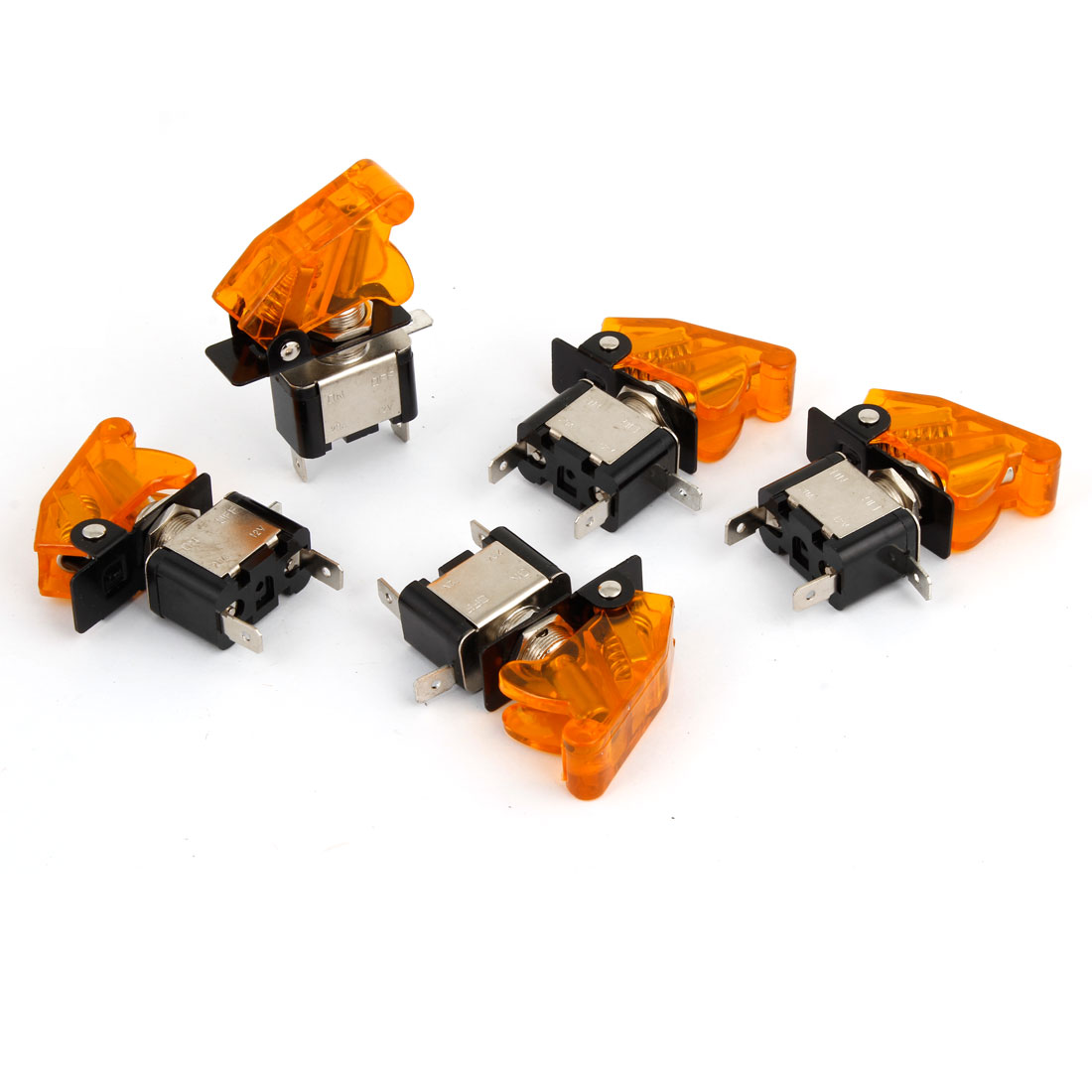 DC 12V 20A Yellow LED Illumination SPST ON/OFF Racing Car Toggle Switch 5 Pcs
