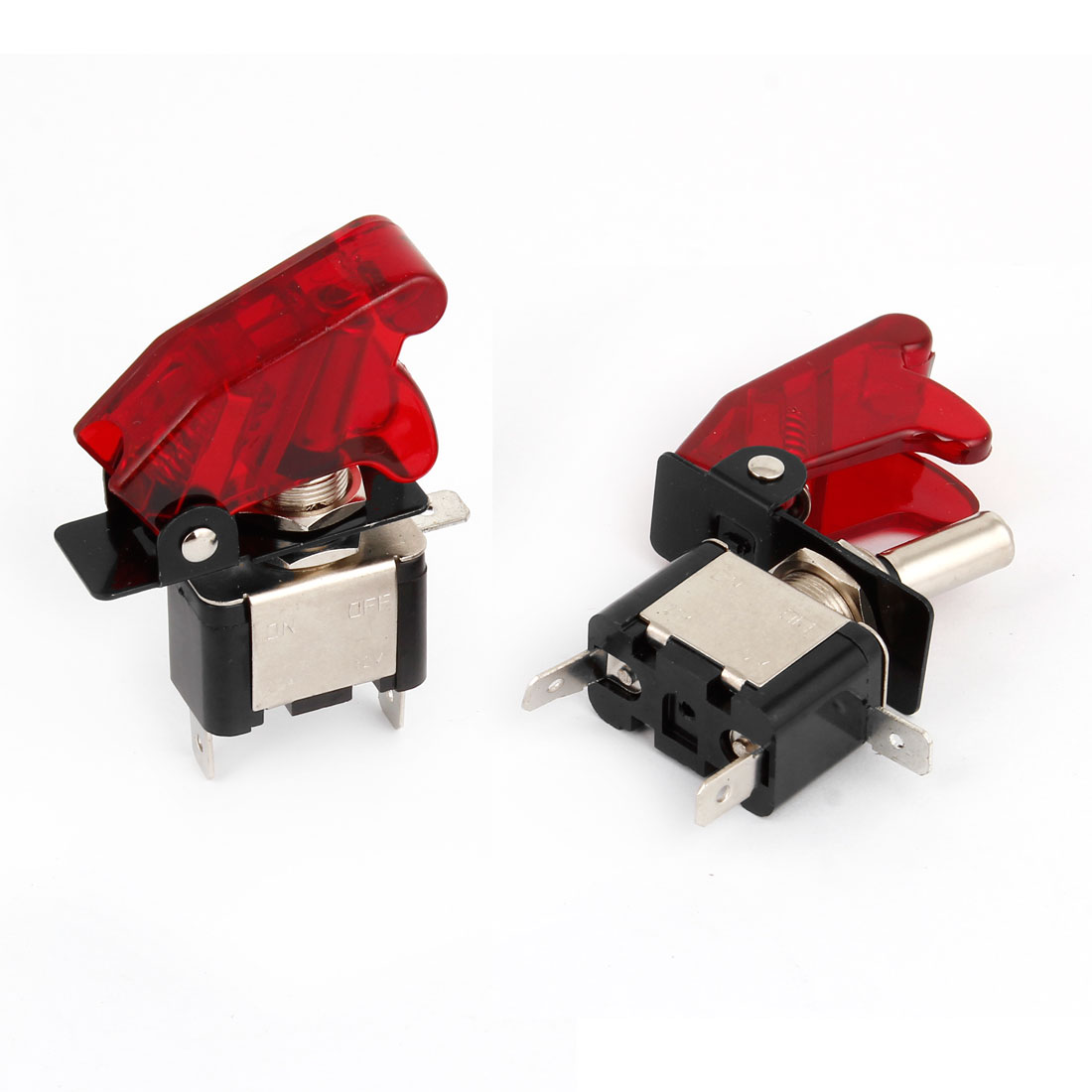 DC 12V 20A Red LED Illumination SPST ON/OFF Racing Car Toggle Switch 2 Pcs