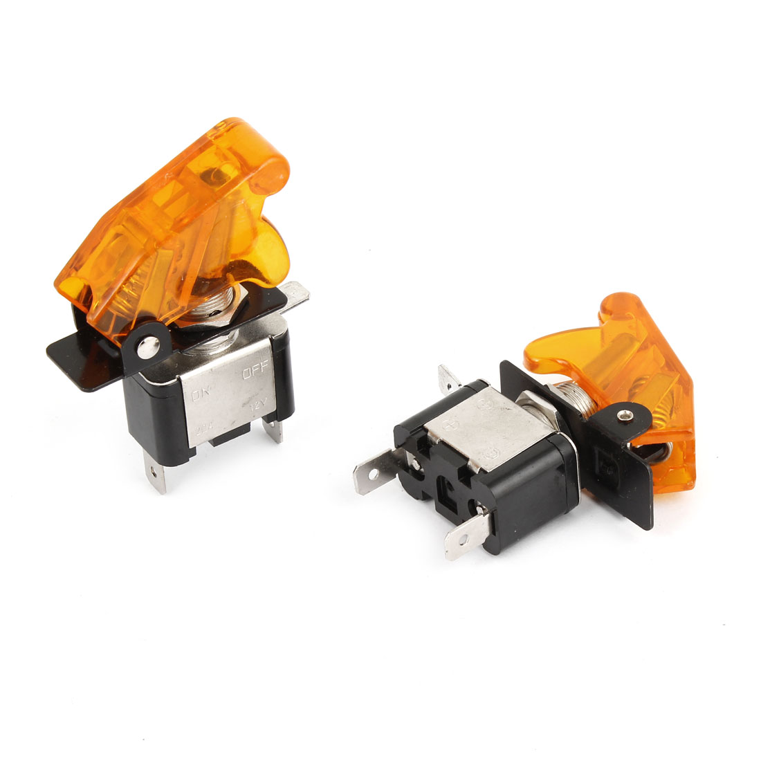 DC 12V 20A Yellow LED Illumination SPST ON/OFF Racing Car Toggle Switch 2 Pcs