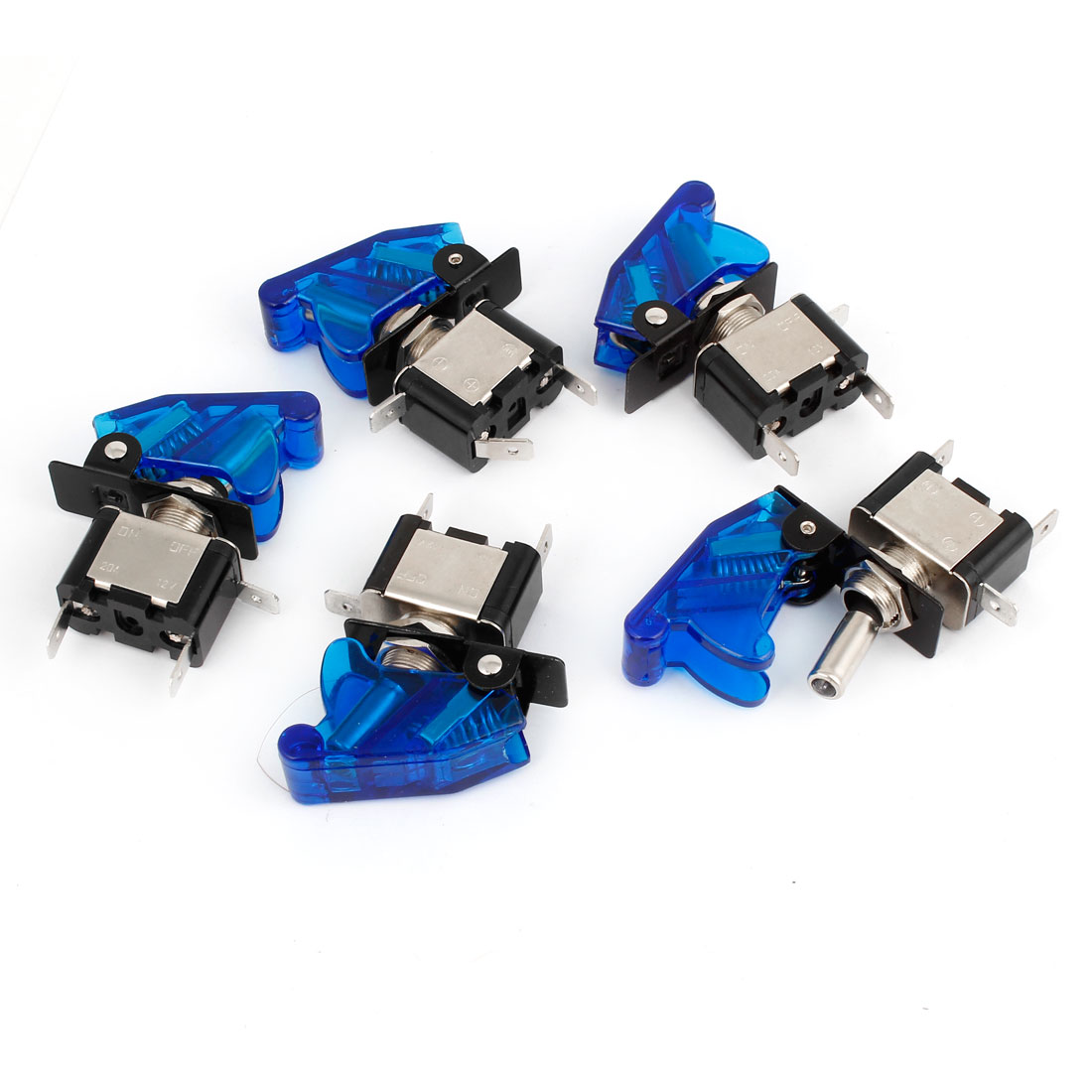 DC 12V 20A Blue LED Illuminated SPST ON/OFF Racing Car Toggle Switch 5 Pcs