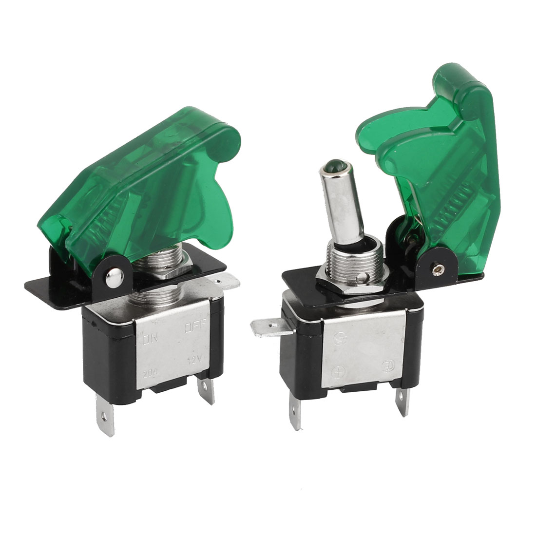 2Pcs Green Lighted Toggle Switch 12V 20A ON OFF Car Truck Boat ATV Airplane