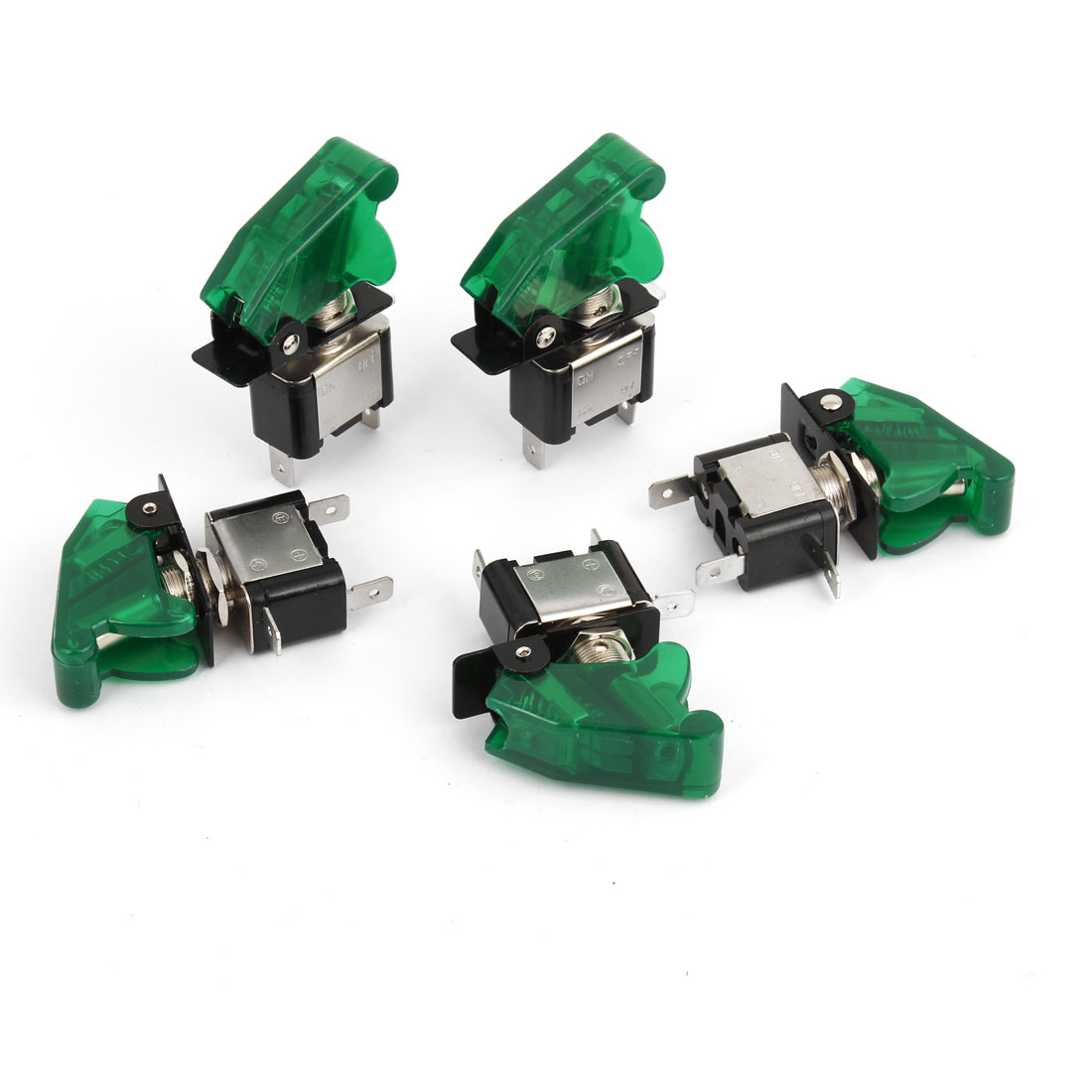 5Pcs Green Lighted Toggle Switch 12V 20A ON OFF Car Truck Boat ATV Airplane