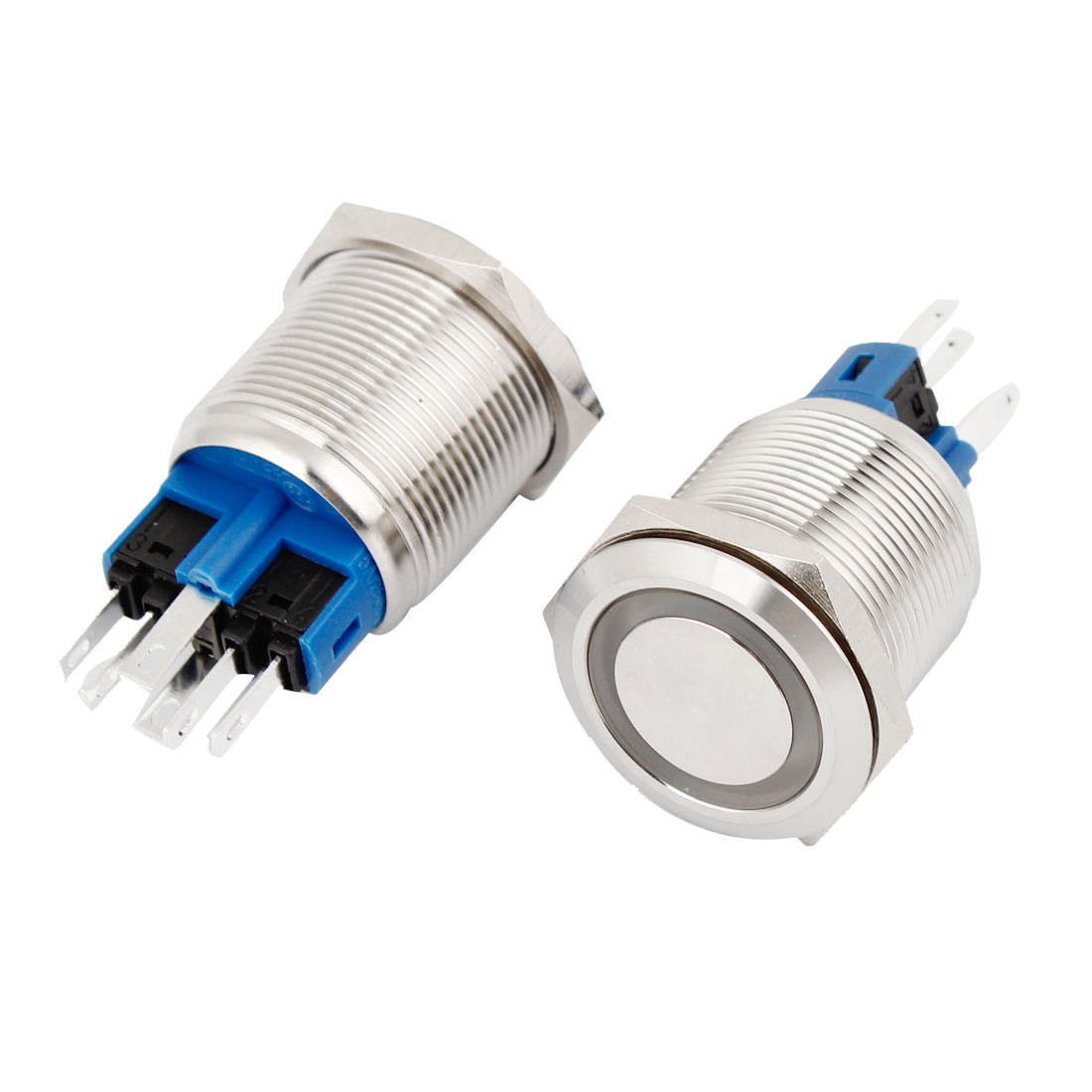 2 Pcs 22mm 12V Blue LED Lighted Push Button SPDT Self-Locking Switch for Car Truck