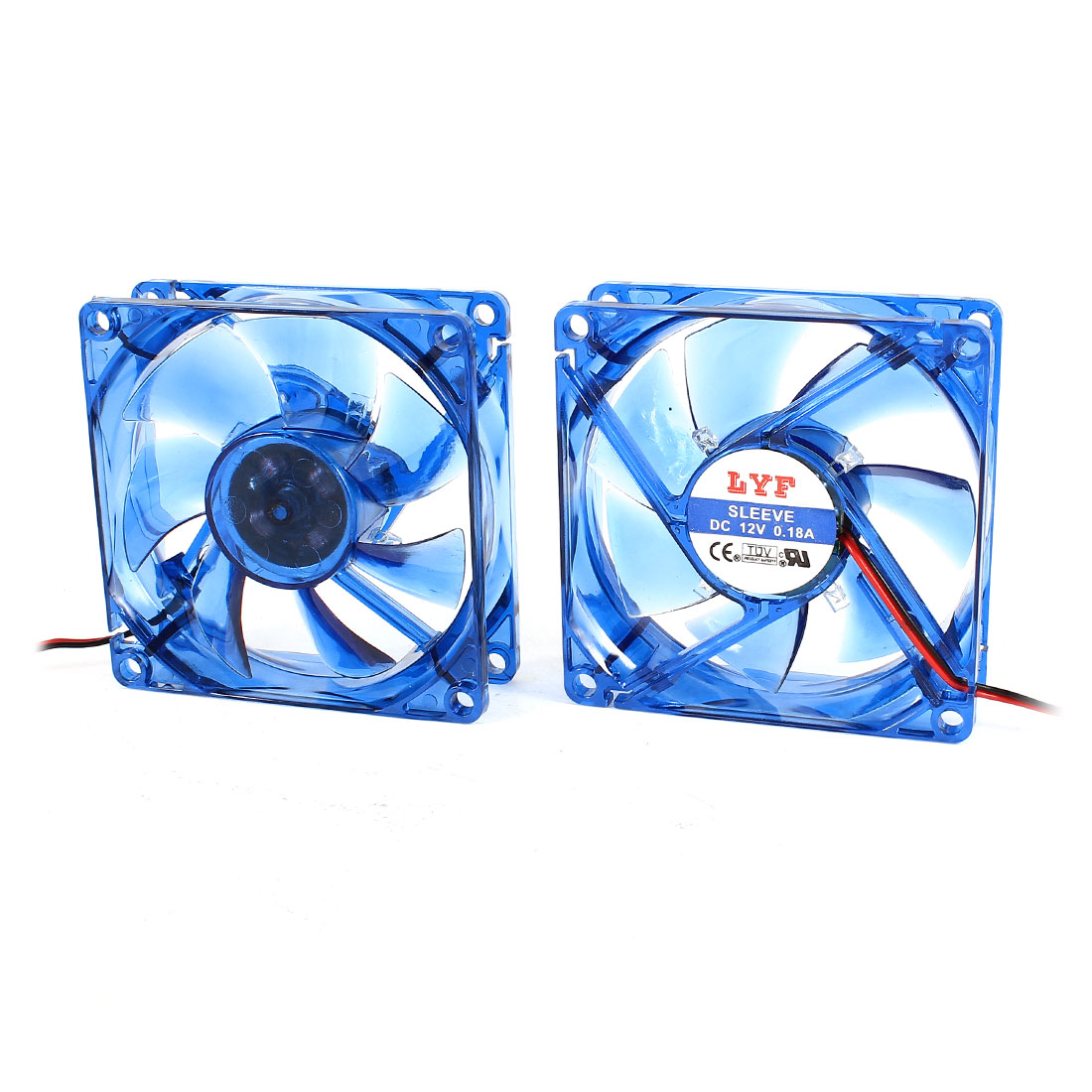 2pcs DC 12V 0.18A 80mm 4 Pin Connector Cooling Fan for Computer Case CPU Cooler
