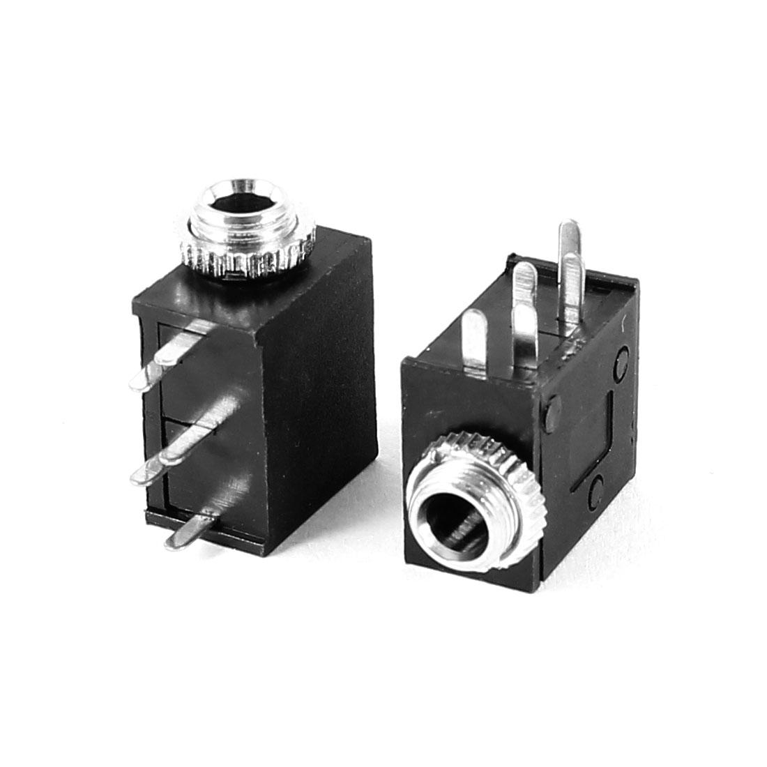 2 Pcs Black PCB Mount 5 Pin Terminals Female 3.5mm Audio Jack Socket