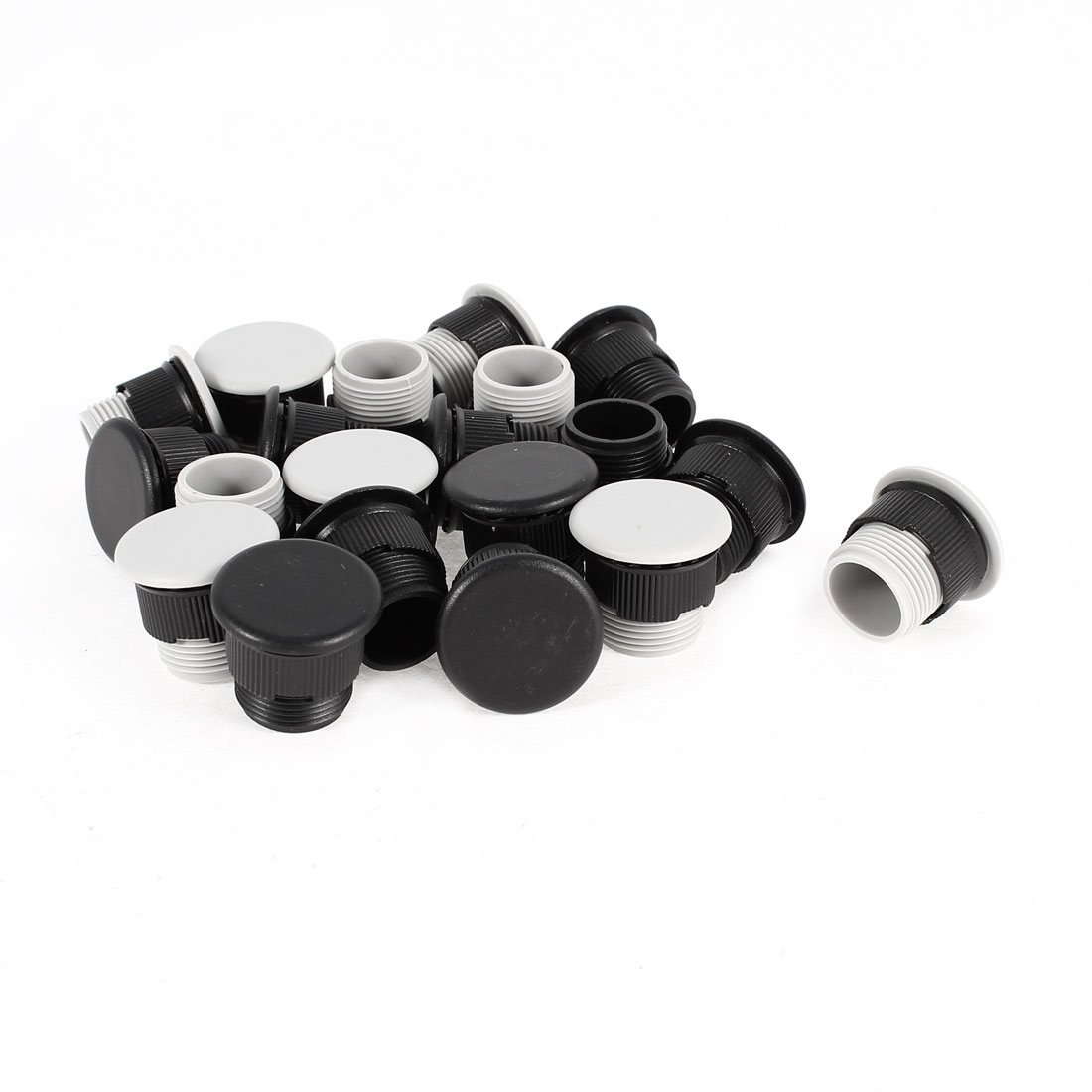 20 Pcs Gray+Black Plastic Panel Plug for 16mm Mount Hole Push Button Switch