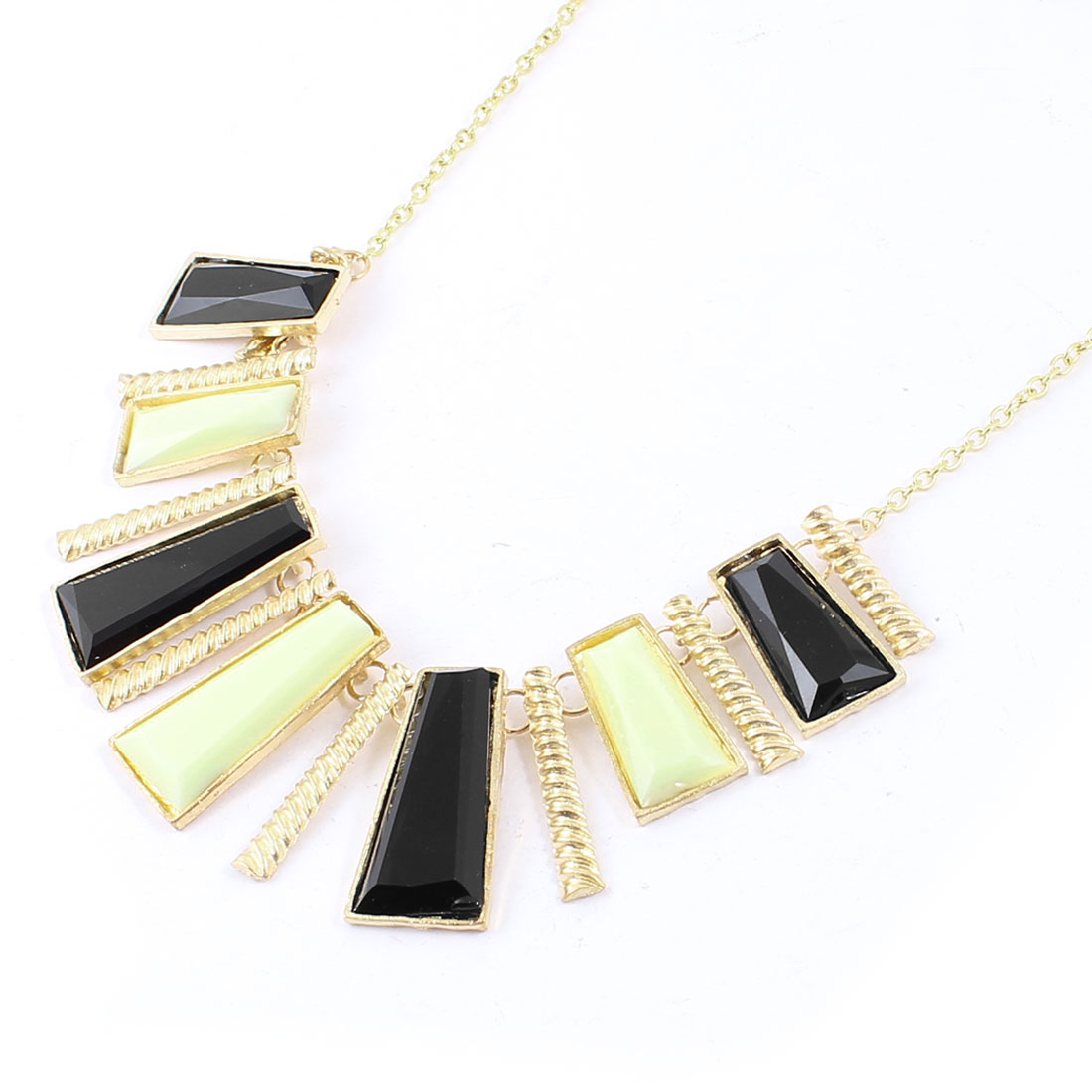 Black Gold Tone Geometry Bib Gold Tone Metal Chain Necklace for Women