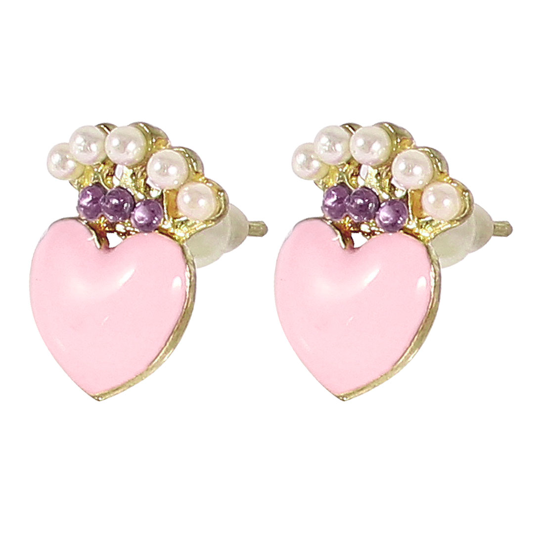 Woman Ear Ornament Pink Heart Design Stud Earrings Gold Tone Pair