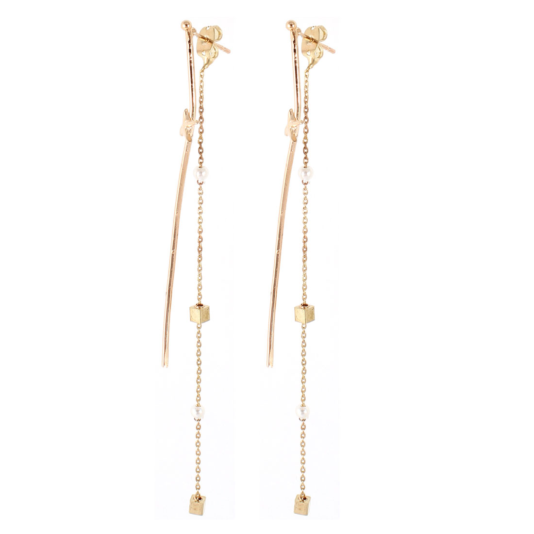 Woman Gold Tone Round Beads Ornament Ear Stud Earrings Eardrop Pair