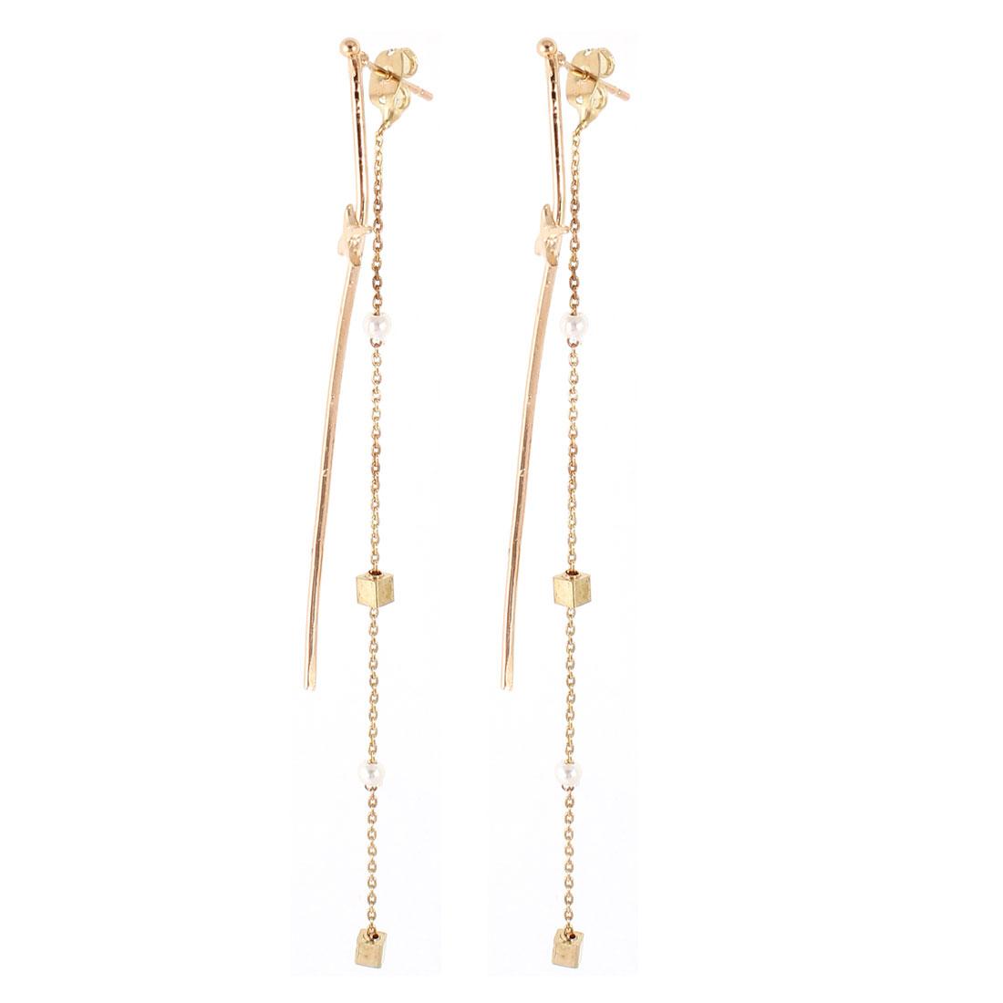 Woman Gold Tone Round Beads Ornament Ear Stud Earrings Eardrop Pair