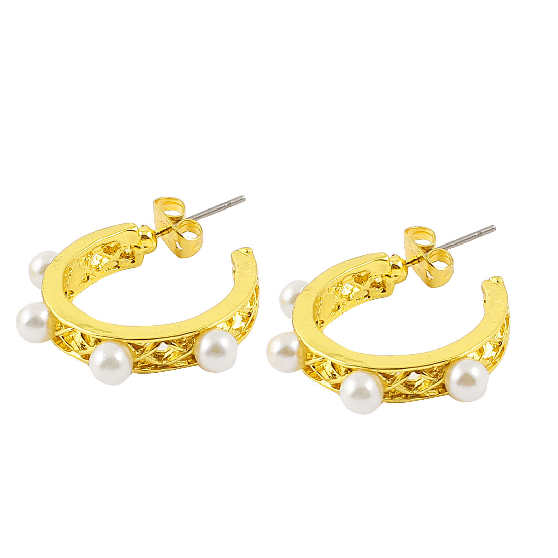 Pair Gold Tone Metal Hollow Out Hoop Earrings Eardrops for Ladies