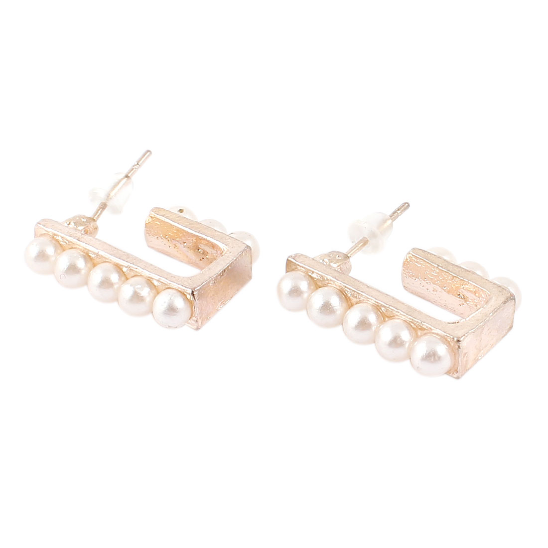 "Lady 0.7"" Length Gold Tone Metal Rectangle Shaped Stud Earrings Pair"