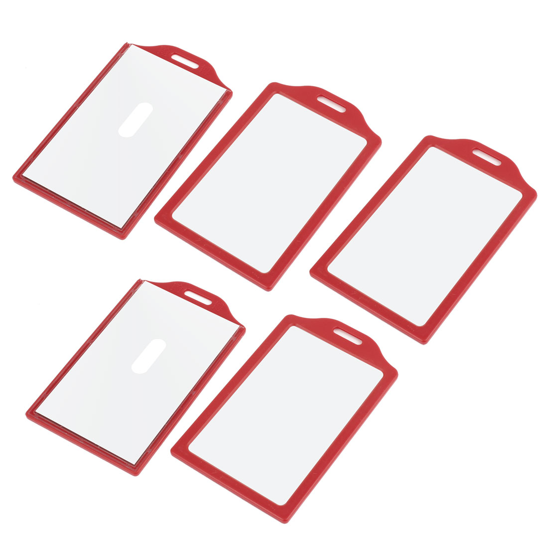 5 Pcs Portable Hole Luggage ID Name Label Card Protector Holder Red