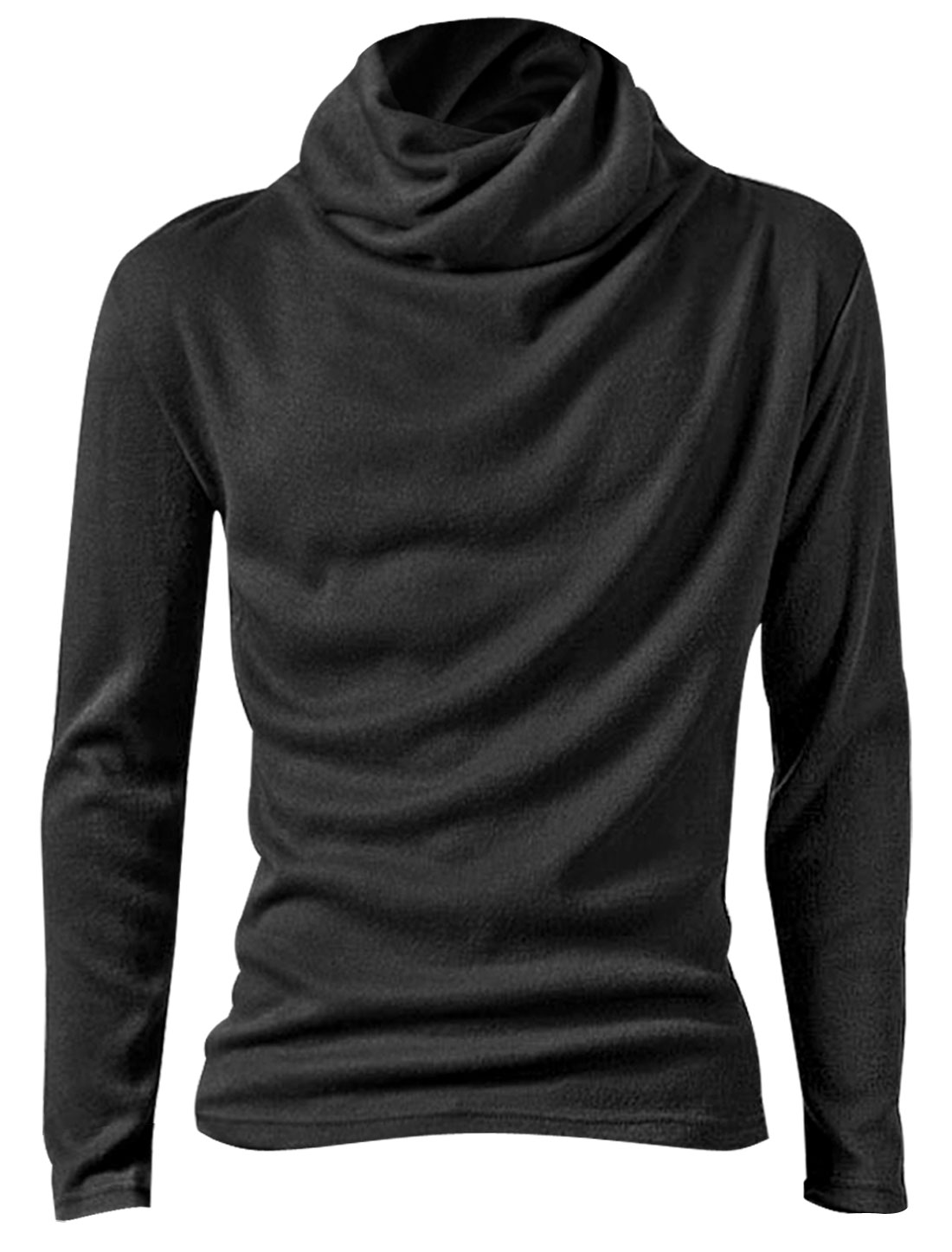 Men Stylish Dark Gray Turtleneck Stretchy Casual Slim Fit Top Shirt