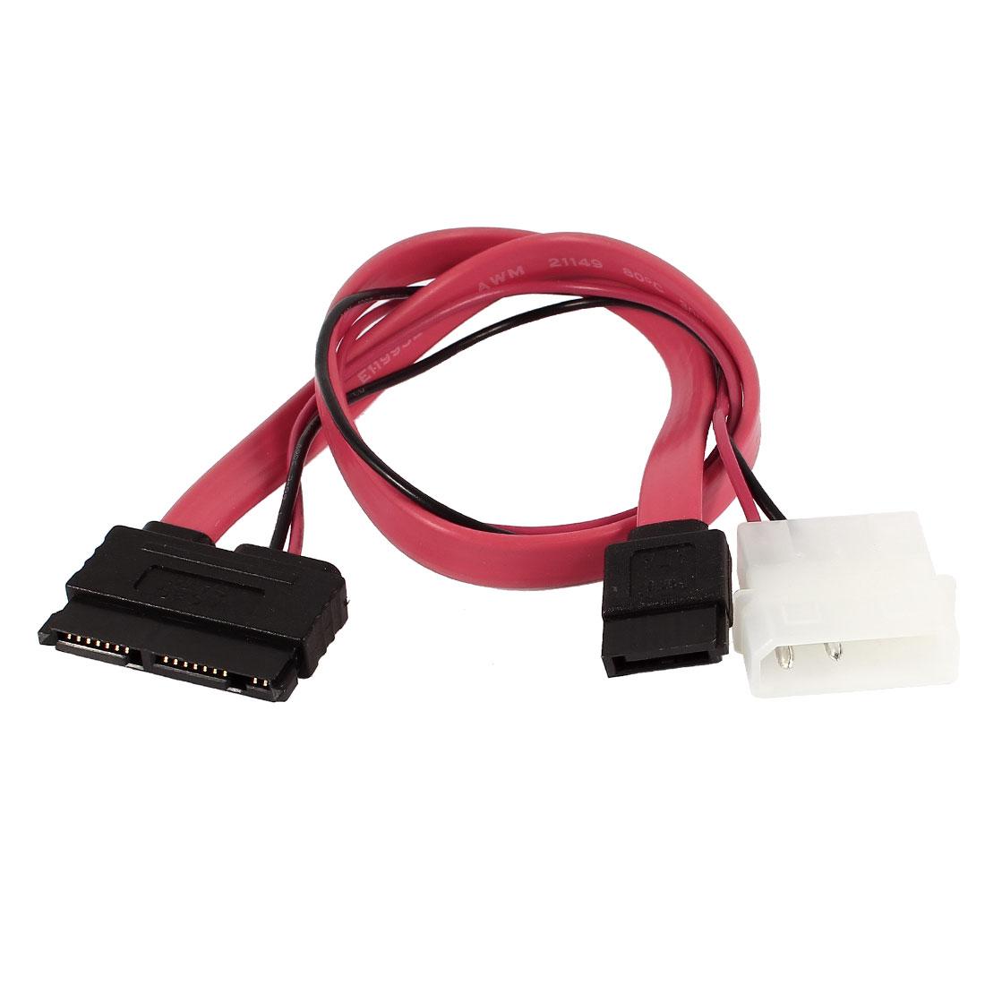 """SATA 7+ 9 Pin to 7 Pin Serial ATA IDE 2 Pin Splitter Power Flat Cable 16"""""""