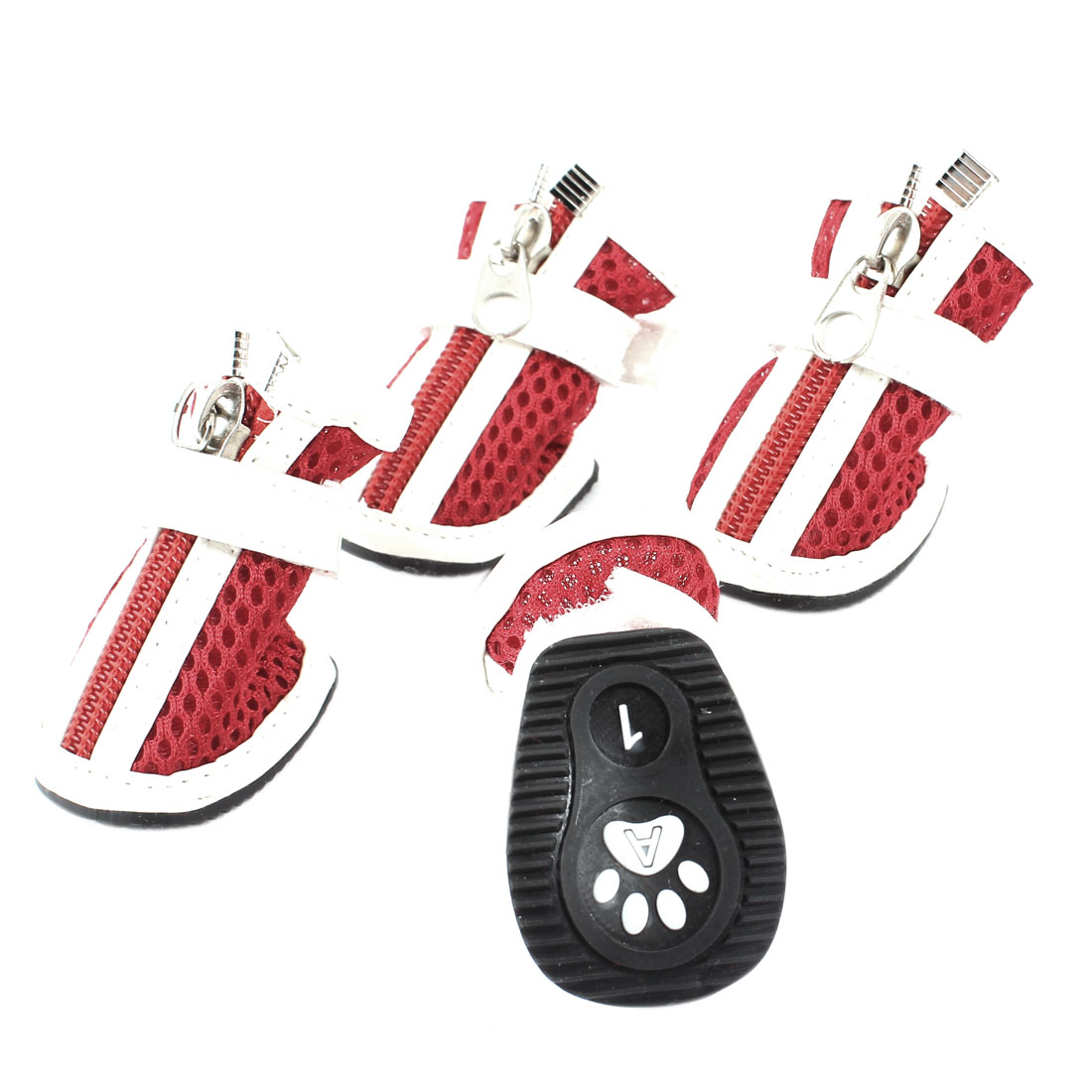 2 Pairs Red White Hook Loop Fastener Zip Up Nonskid Sole Meshy Pet Dog Doggy Shoes Size XXS