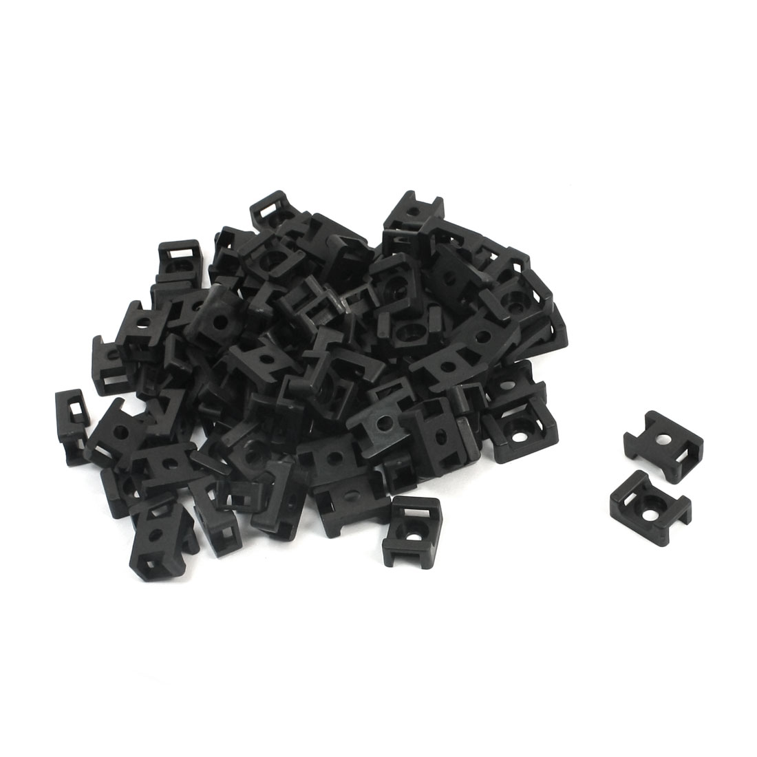 9mm Width Tie Cable 5mm Mounting Screw Saddle Base Holder Black 100 Pcs