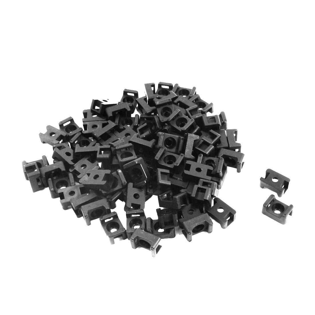 4.5mm Width Tie Cable 3mm Mounting Screw Saddle Base Holder Black 90 Pcs