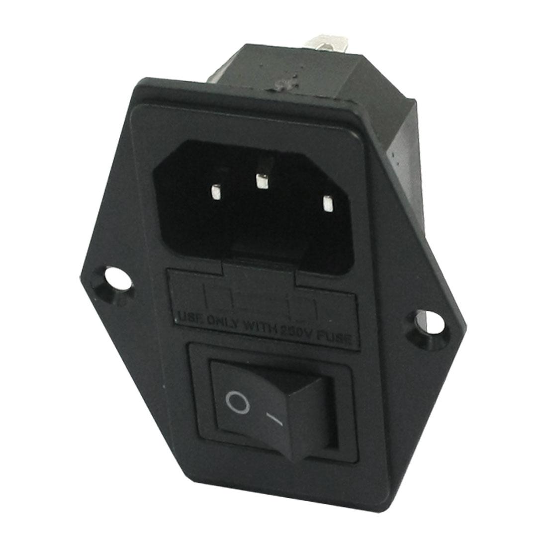 AC 250V 10A 5x20mm Fuse Holder Rocker Switch IEC320 C14 Male Inlet Power Socket Black