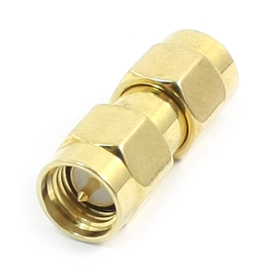 SMA Male to Male Jack Gold Tone Metal Antenna Radio Interface Coaxial Connector Adapter