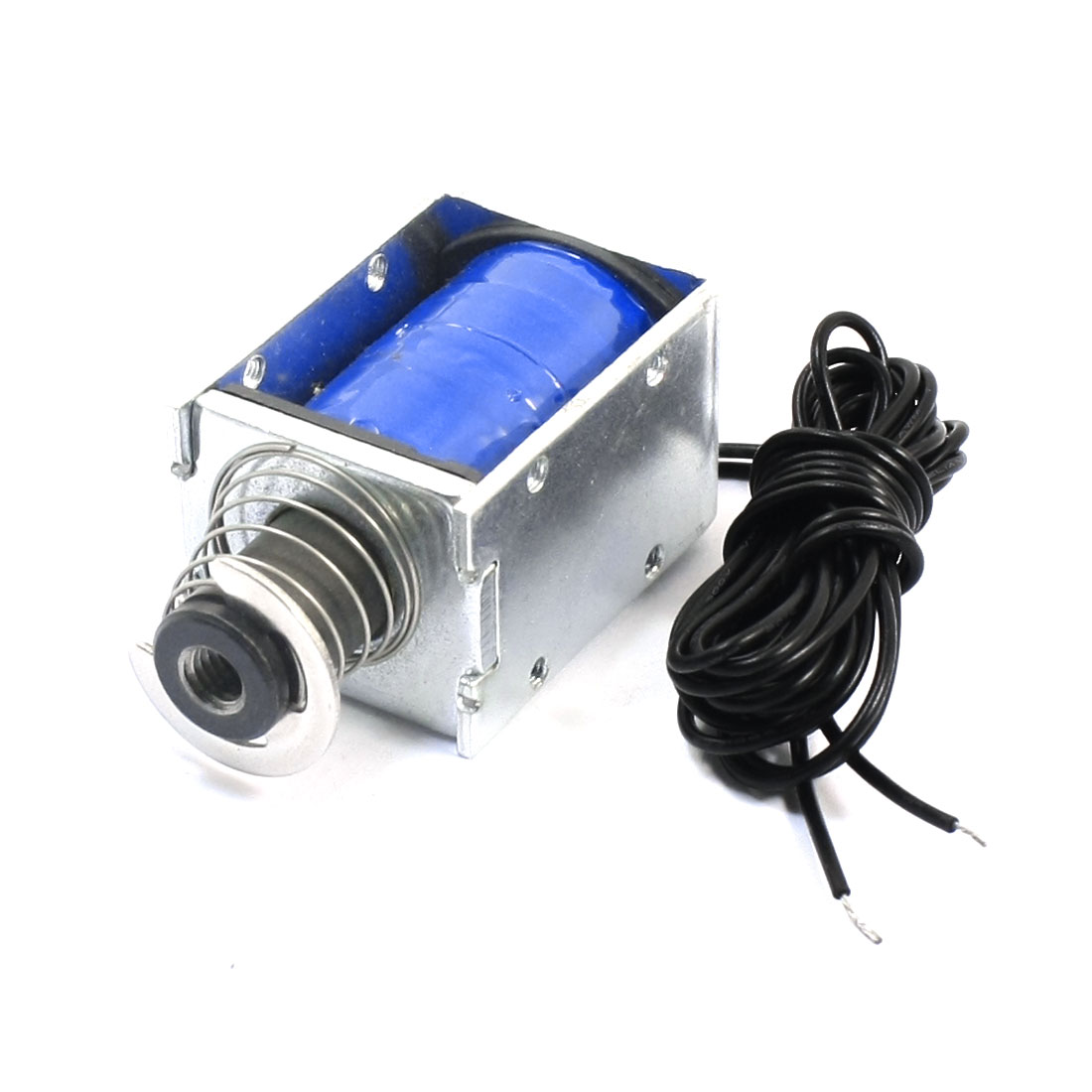 8mm Stroke 900g Force 2-Wire Connecting Open Frame Pull Type Spring Loaded Linear Motion Solenoid Electromagnet DC 24V 0.96A 23.04W