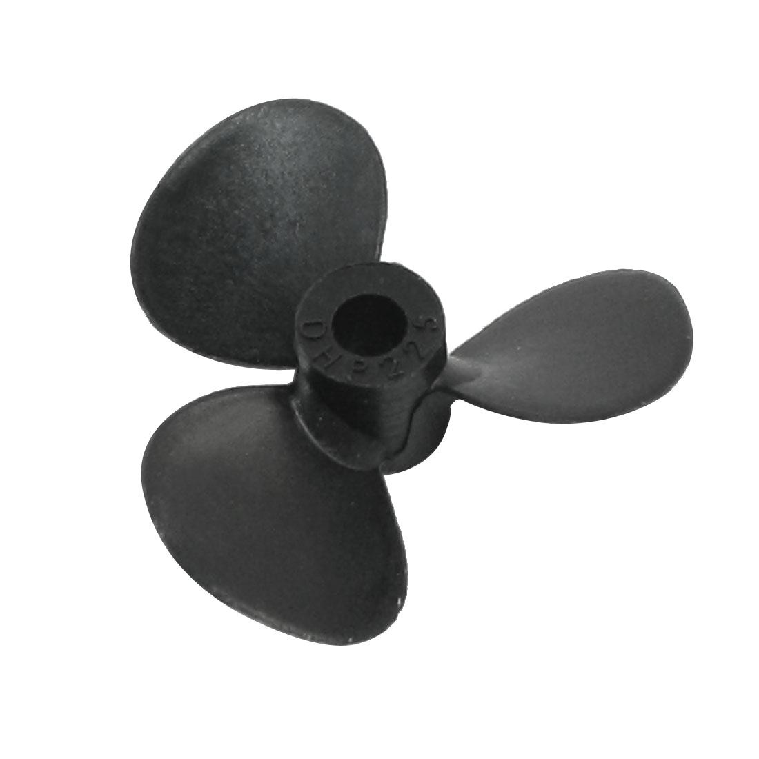 25mm Dia P/D 1.2 Black Plastic 3-Vane CCW Reverse Rotating Prop Propeller for 3mm Shaft RC Model Boat Ship